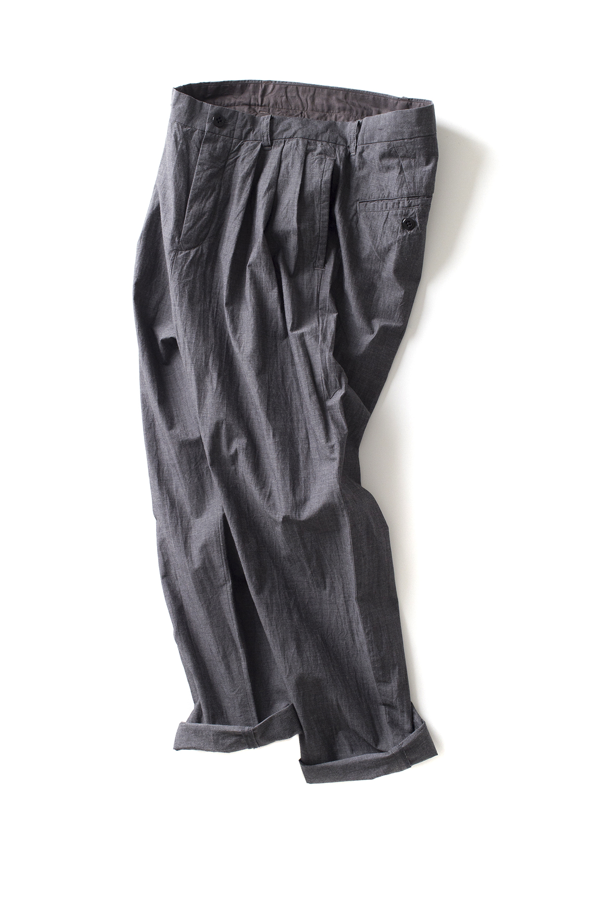 Maillot : Heather Cotton Tuck Tapered Pants (Mid Grey)