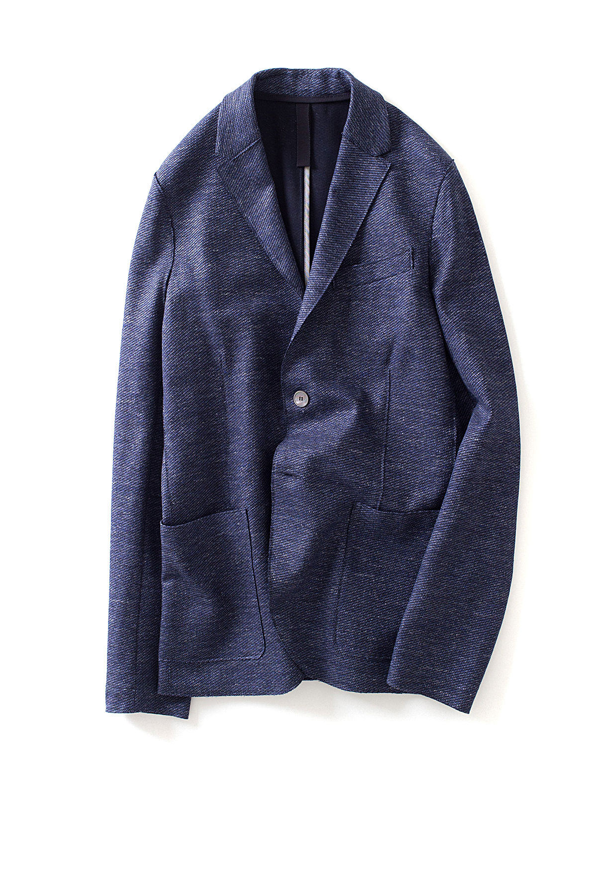 Harris Wharf London : 2b. vented blazer Bicolour Linen (Denim)
