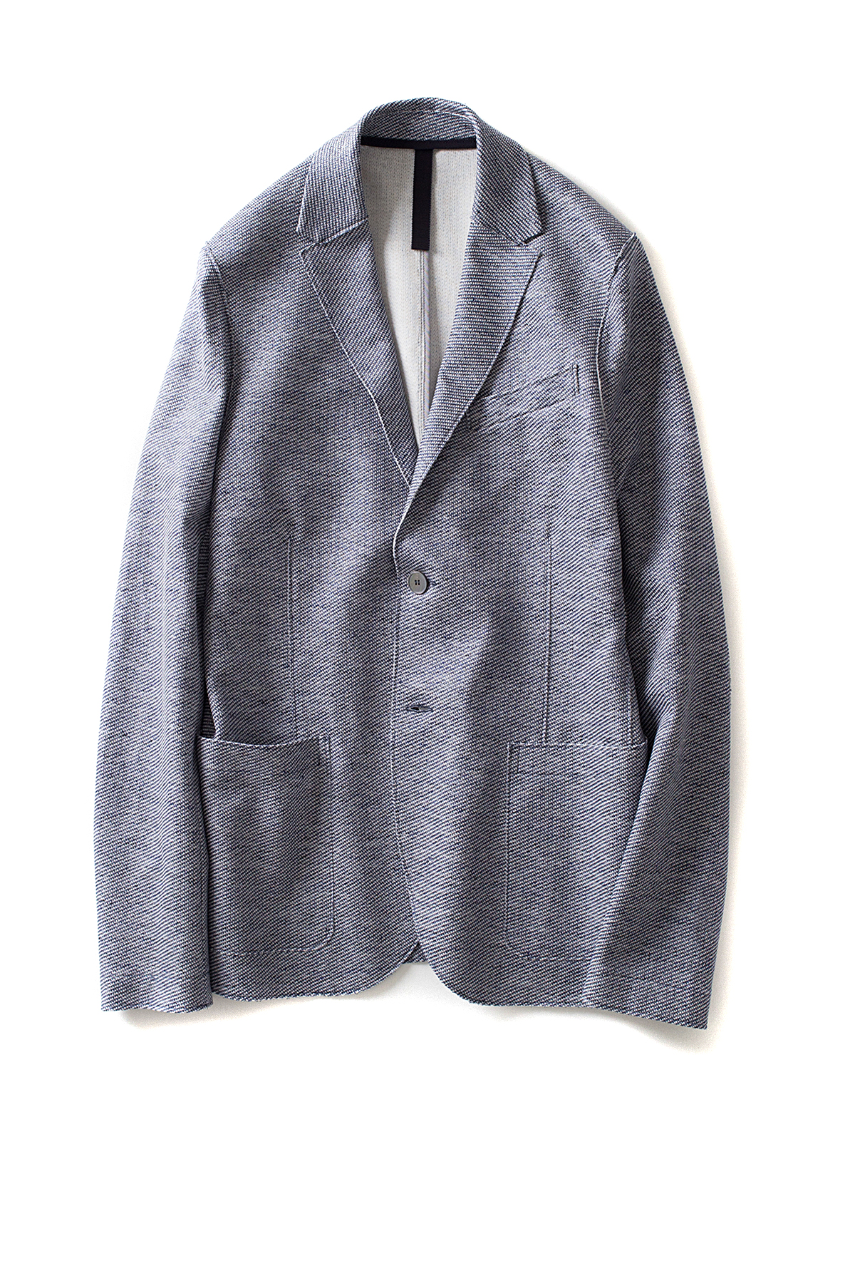 Harris Wharf London : 2b. vented blazer Bicolour Linen (Light Blue)