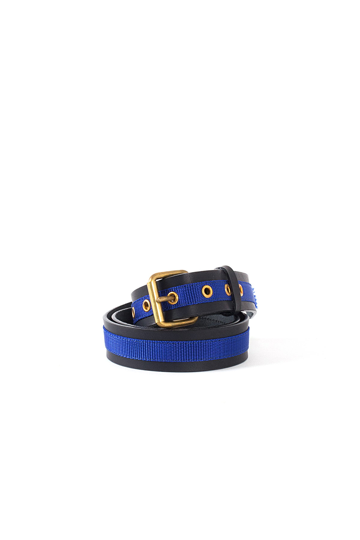kolor / BEACON : Nylon Taped Leather Belt (Black)