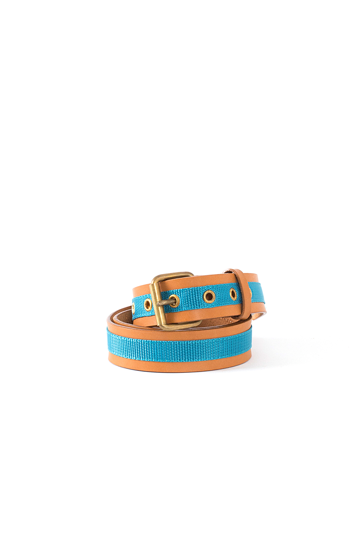 kolor / BEACON : Nylon Taped Leather Belt (Camel)