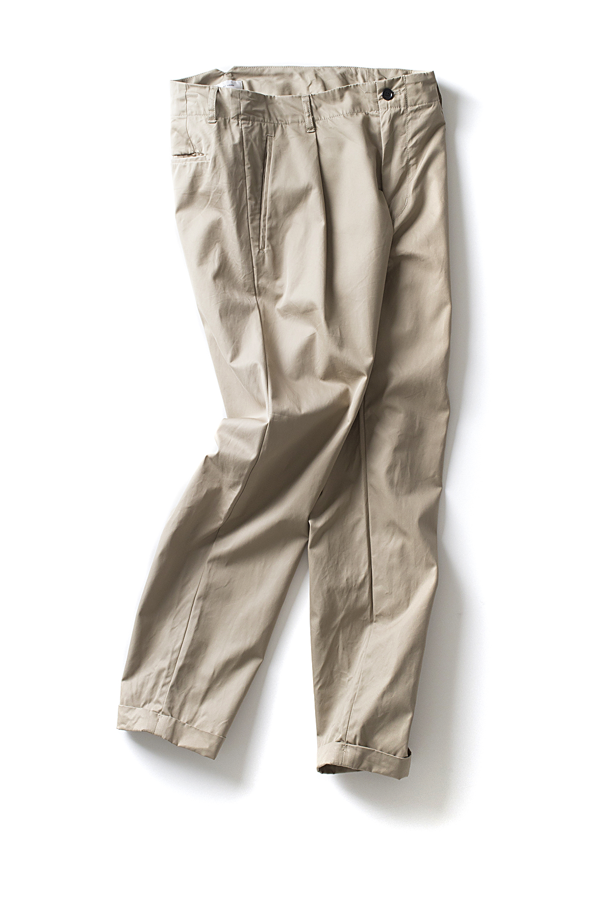 Still By Hand : Deep Tuck Slacks (Beige)