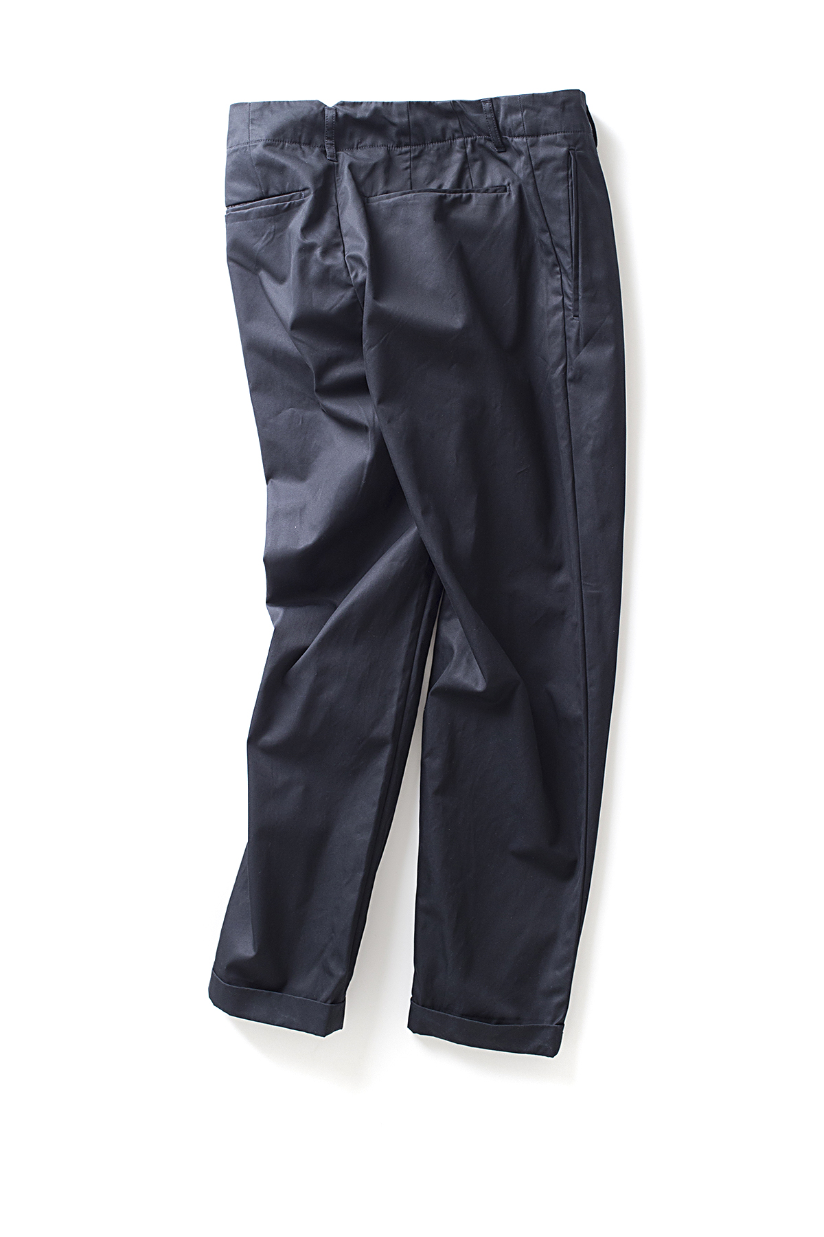 Still By Hand : Deep Tuck Slacks (Navy)