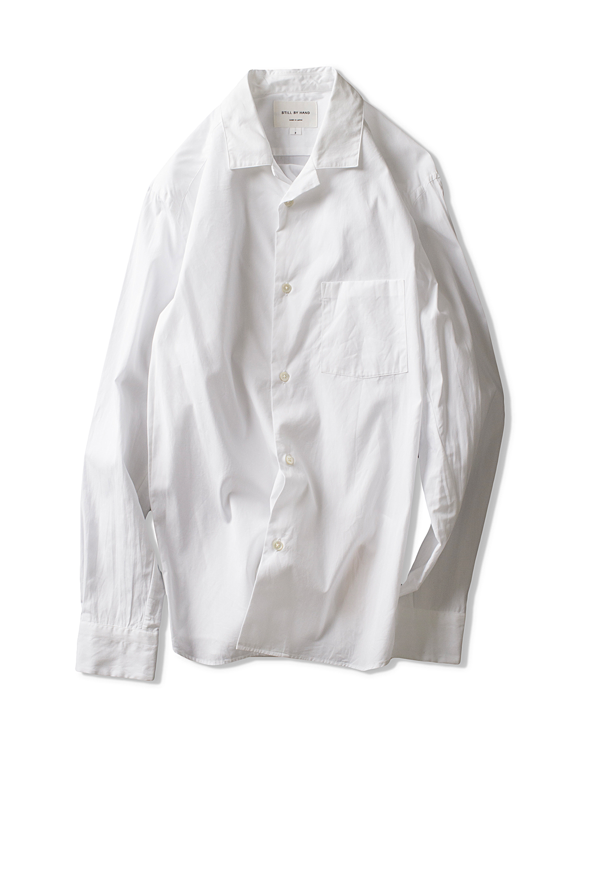 Still By Hand : Open Collar Shirts (White)