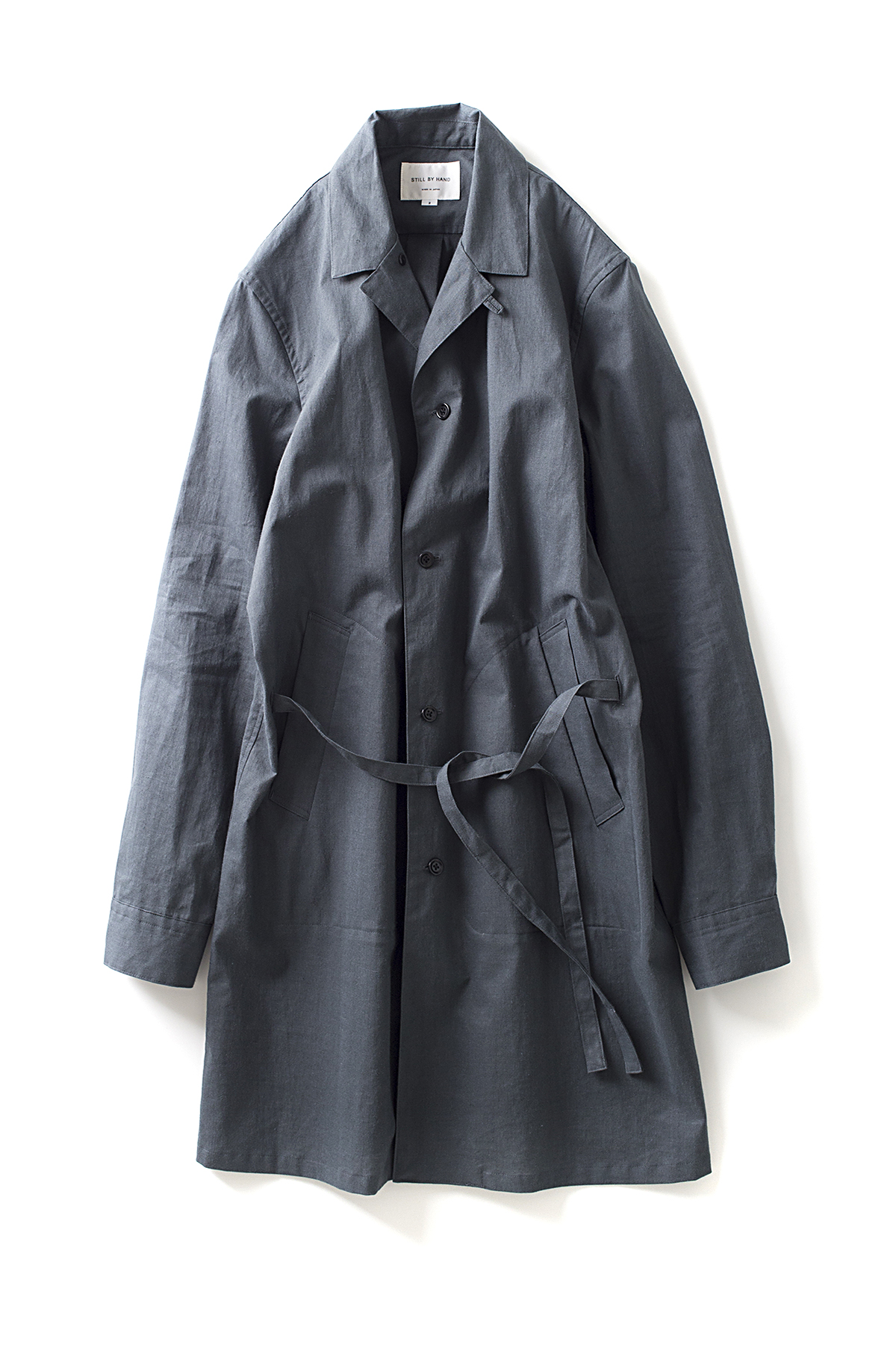 Still By Hand : Silicon Coating Linen Coat (Grey)