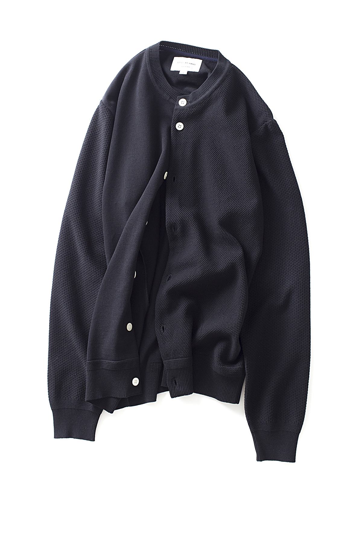Still By Hand : Crew Neck Cardigan (Black)