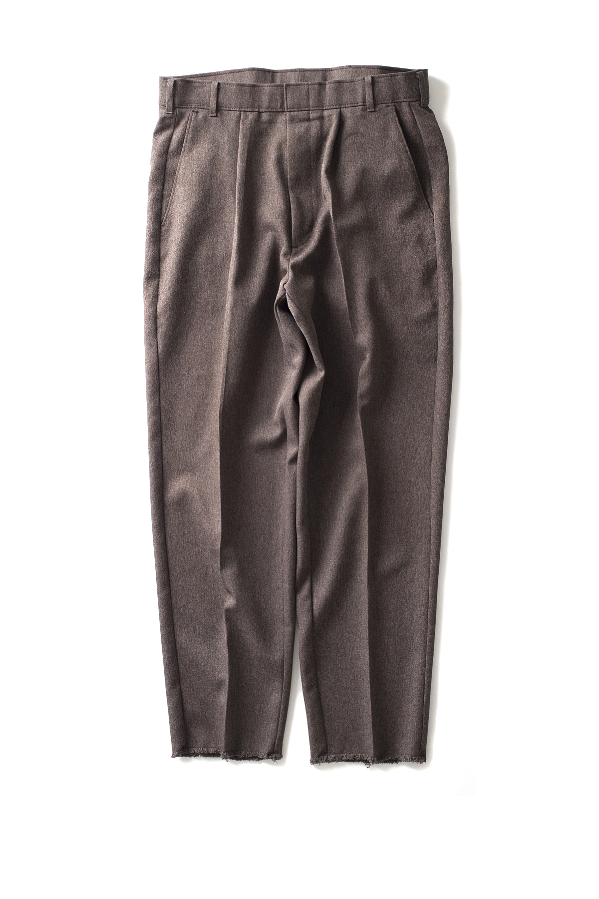 HEXICO : Deformer Ex. Action Slacks 1-Tuck Trousers (Brown)