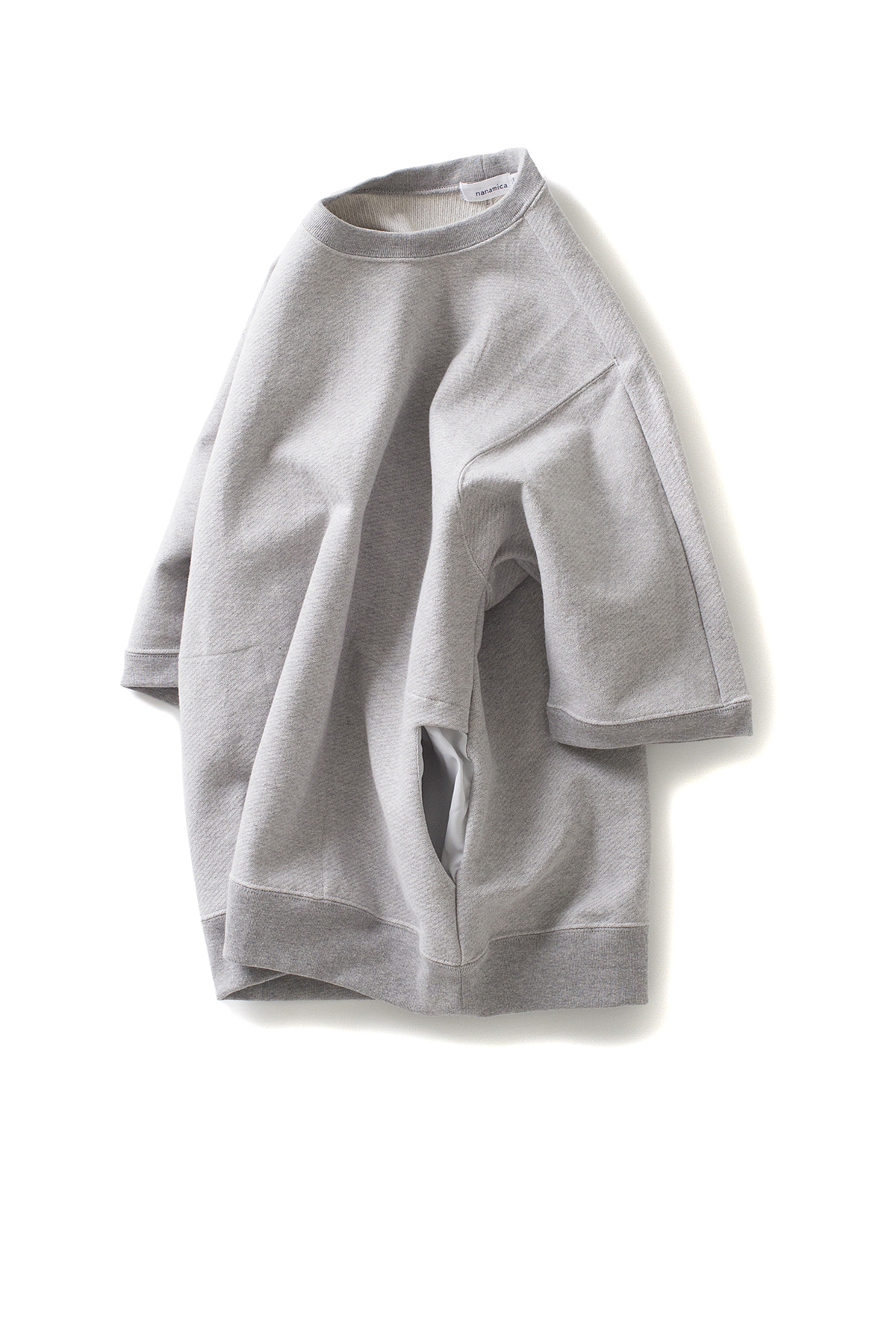 nanamica : Crew Neck Half Sleeve Sweat (Heather Grey)