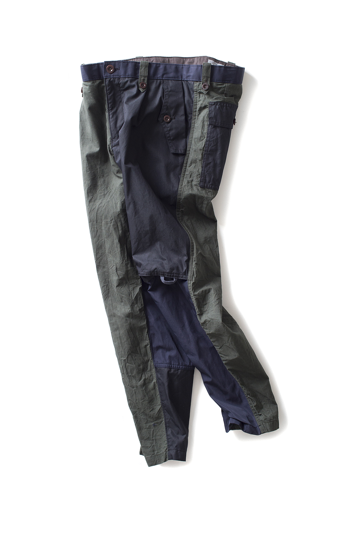 kolor / BEACON : Paraffin Coated Cropped Military Pants (Olive x Navy)