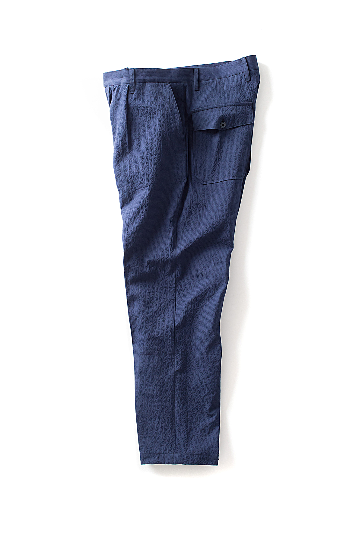 CAMO : Wide Trousers (Seersucker Blue)