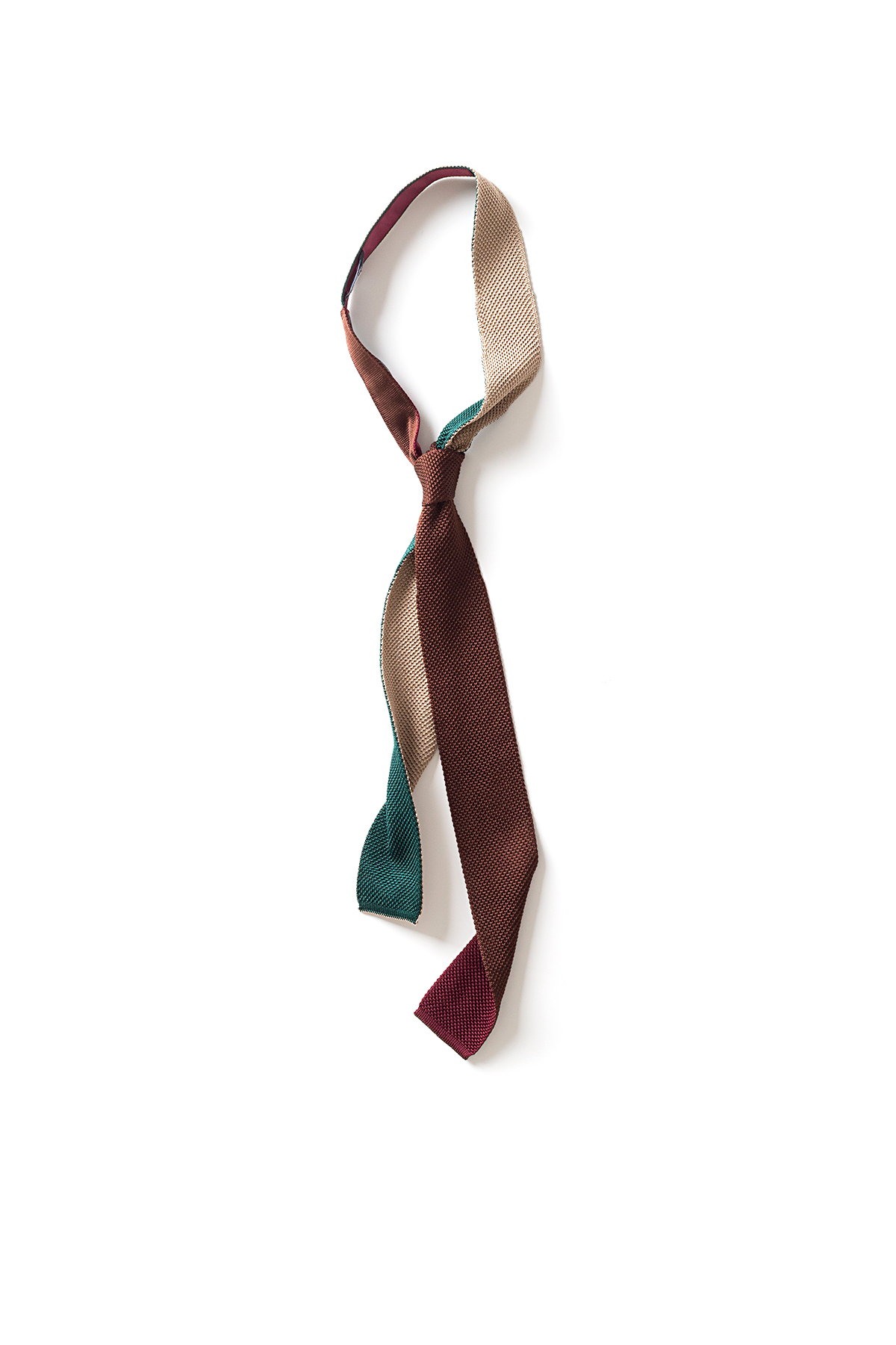 Kenneth Field : 4F Knitted Silk Tie (Mocca x Green)