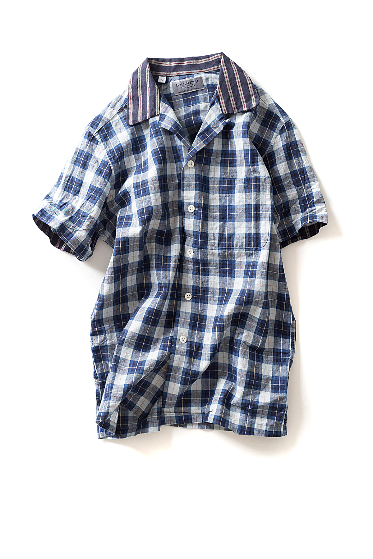 Kenneth Field : Short Sleeve Open Collar Shirt (Indigo)