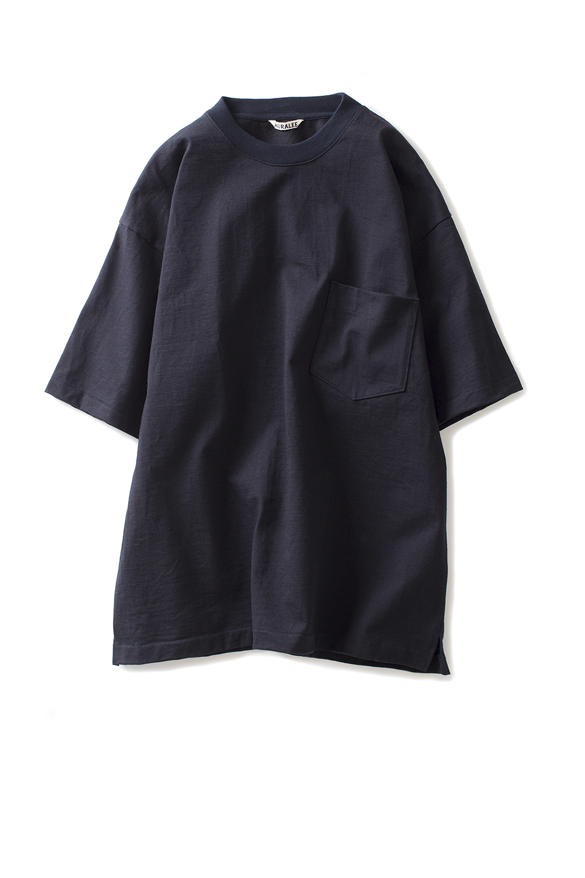 Auralee : Stand-Up Tee (Navy Black)