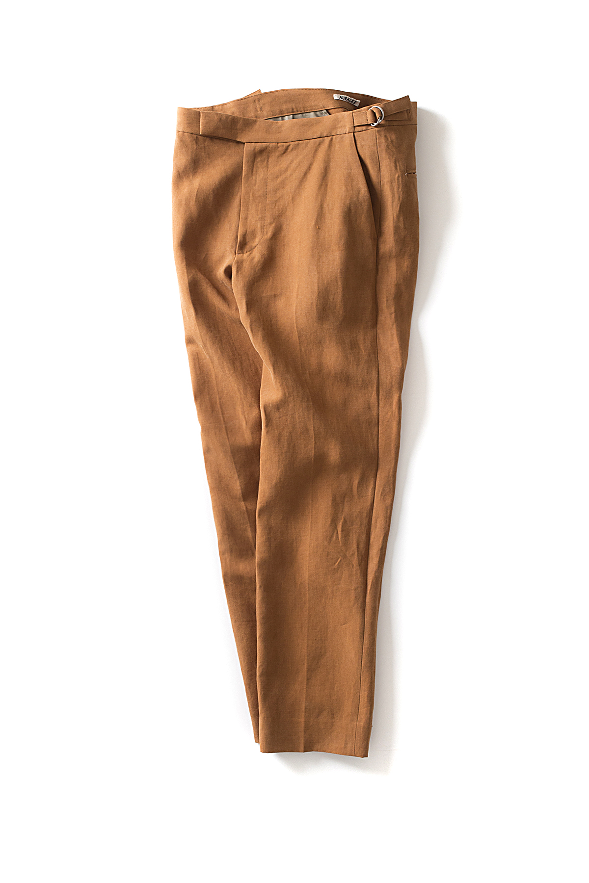 Auralee : Washed Linen Slacks (Brown)