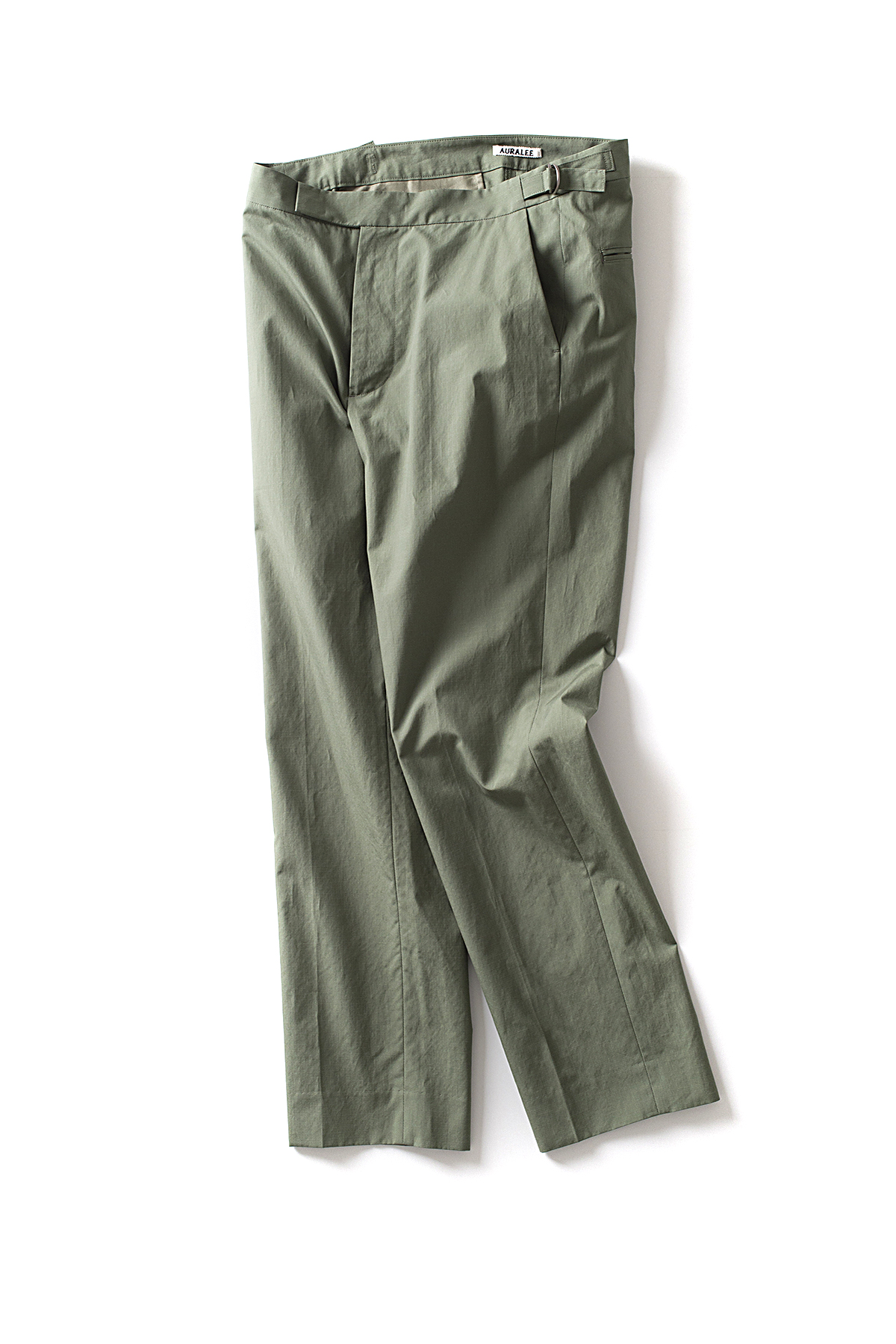 Auralee : Washed Finx Ripstop Slacks (Olive Green)