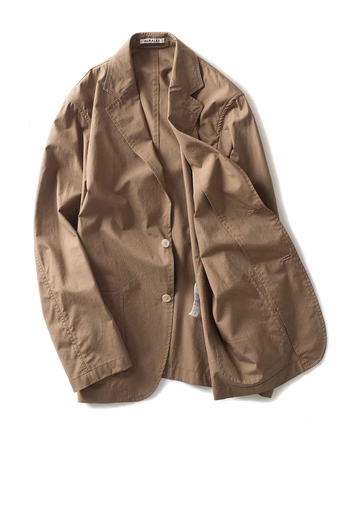 Auralee : Washed Finx Ripstop Jacket (Brown)