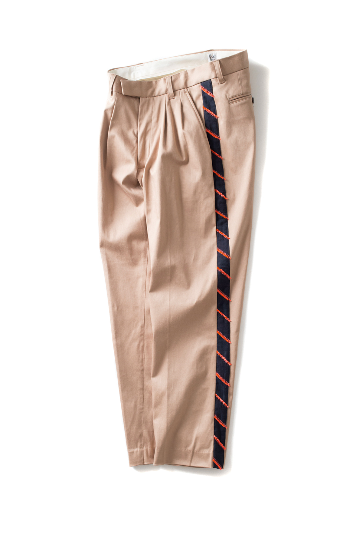 RYU : Two-tuck Tapered Pants With Fringe (Beige)