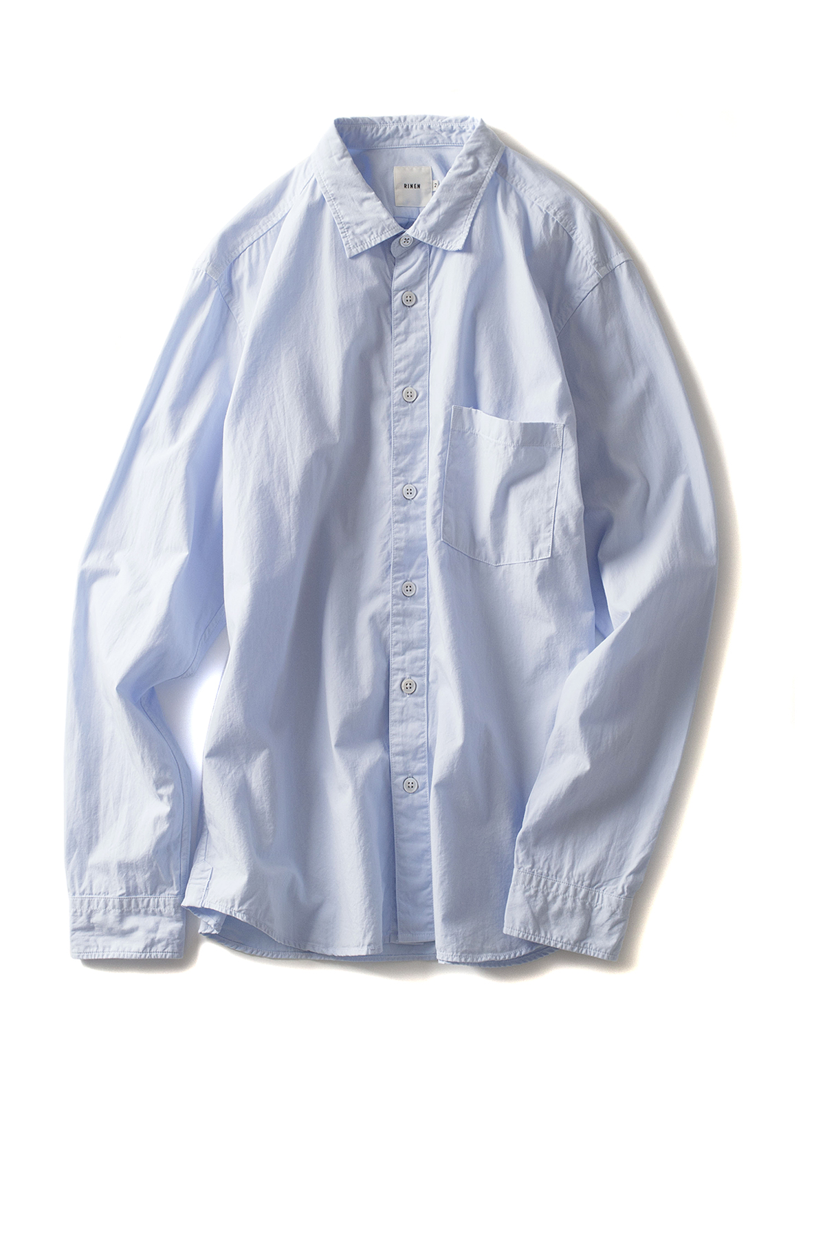RINEN : Organic Broad Regular Collar Shirt (Sax)