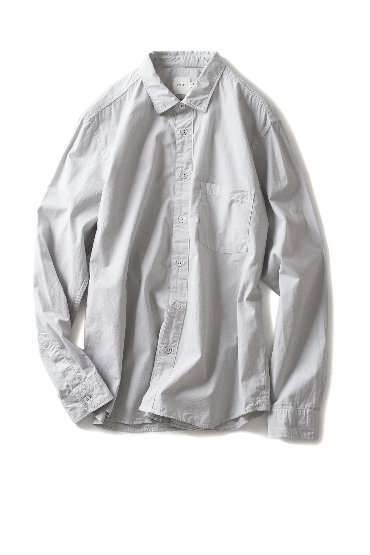RINEN : Organic Broad Regular Collar Shirt (L.Grey)