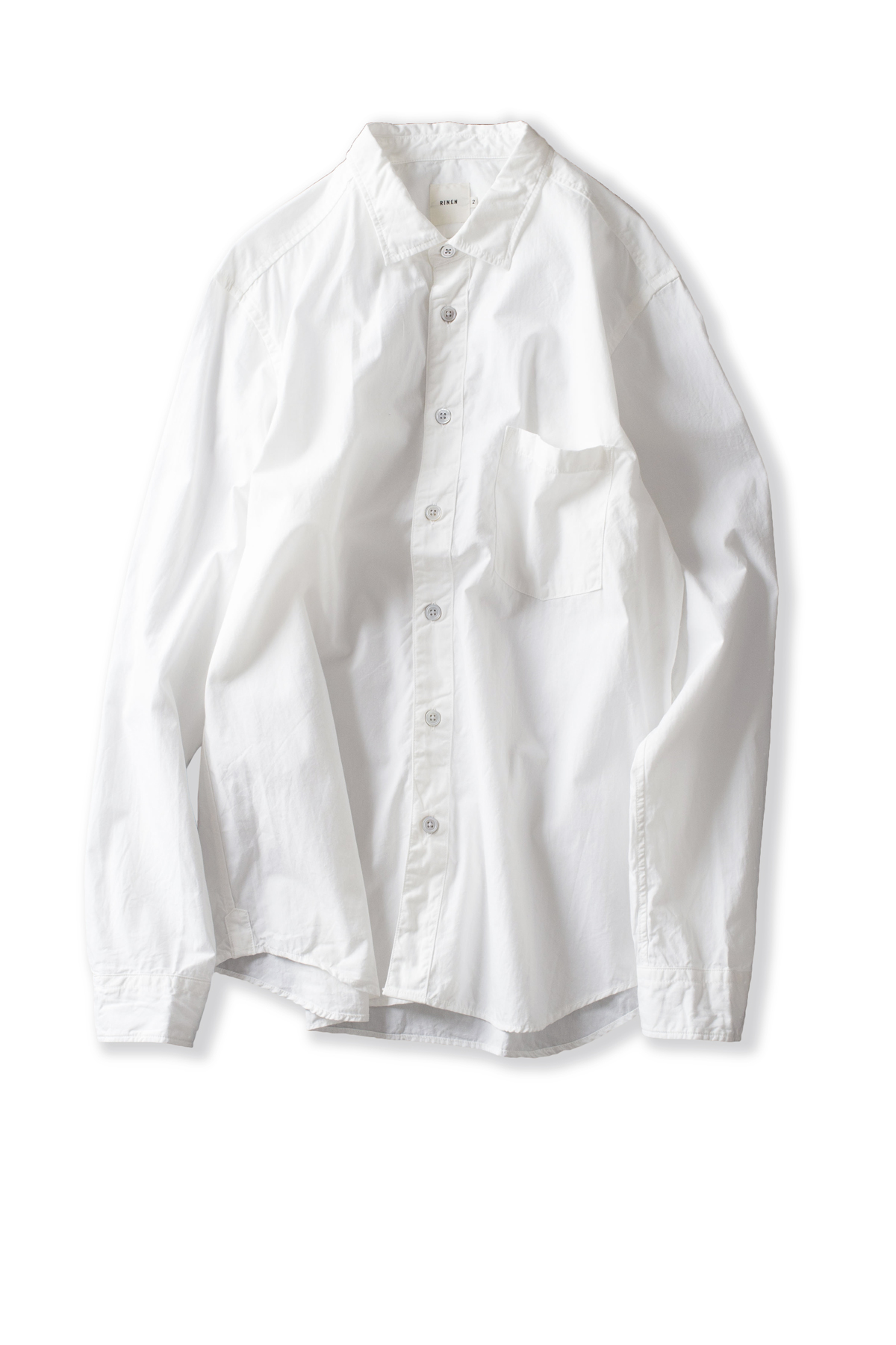 RINEN : Organic Broad Regular Collar Shirt (White)