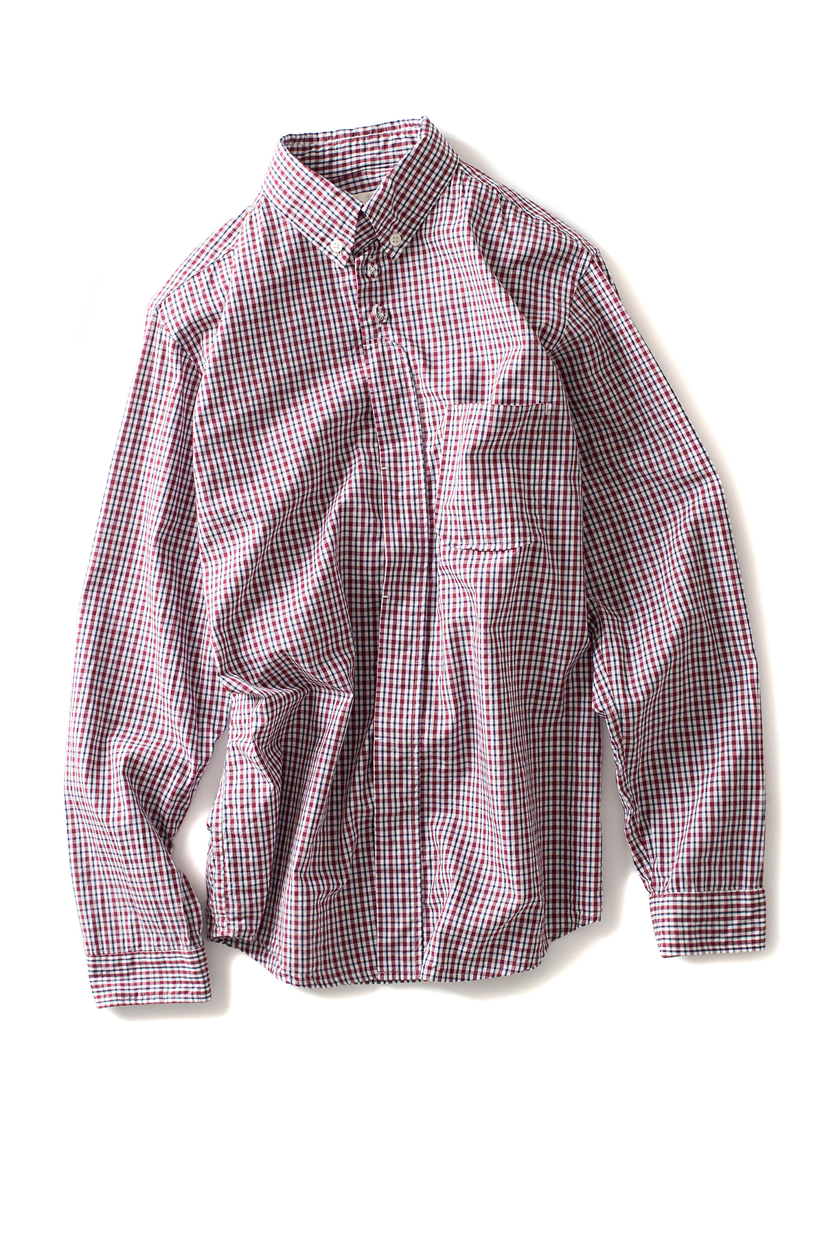 nisica : B.D Check Shirt (Burgundy)