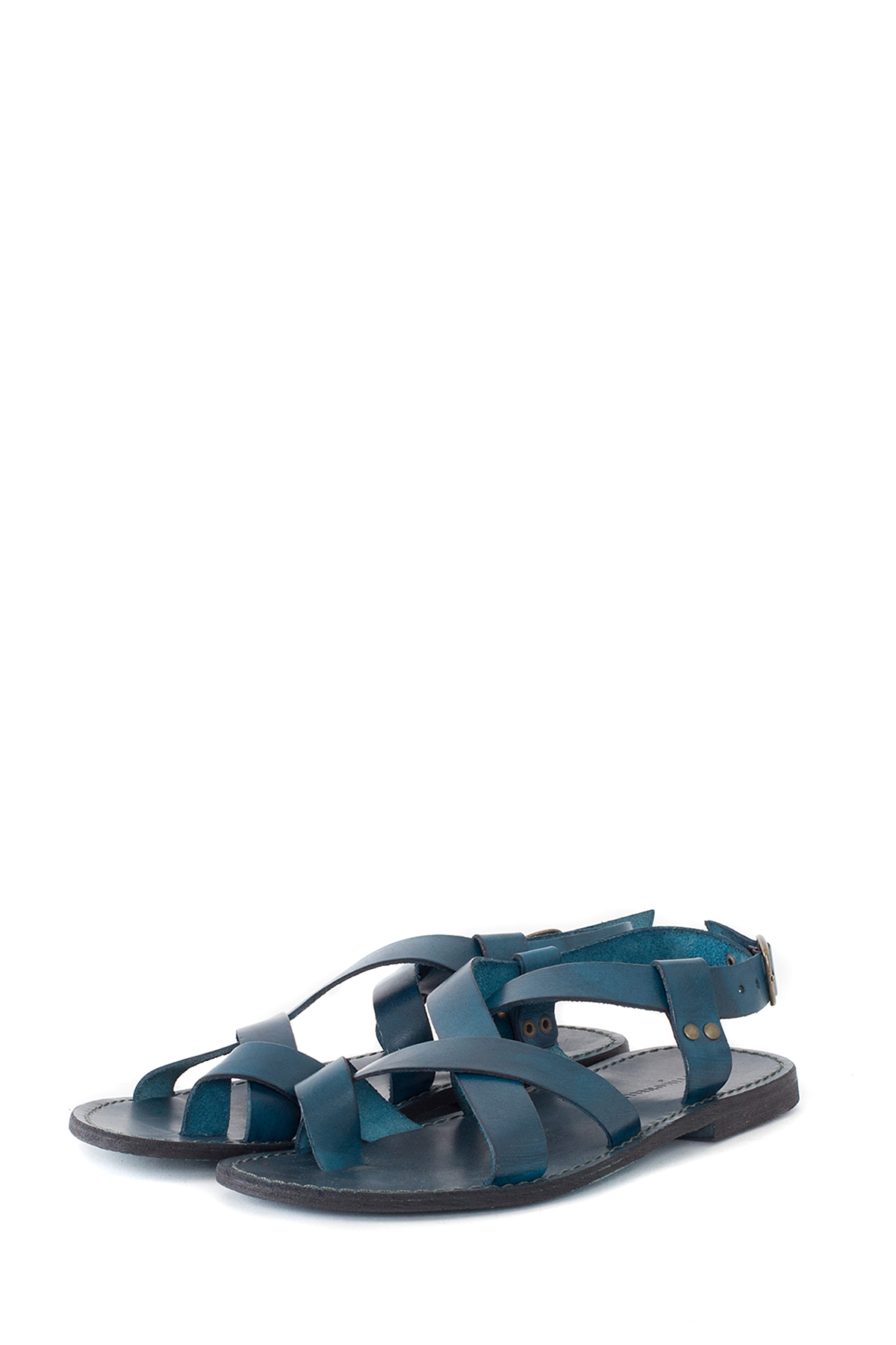 ATTIMONELLI'S : Soft Leather Flip Flops (Navy)