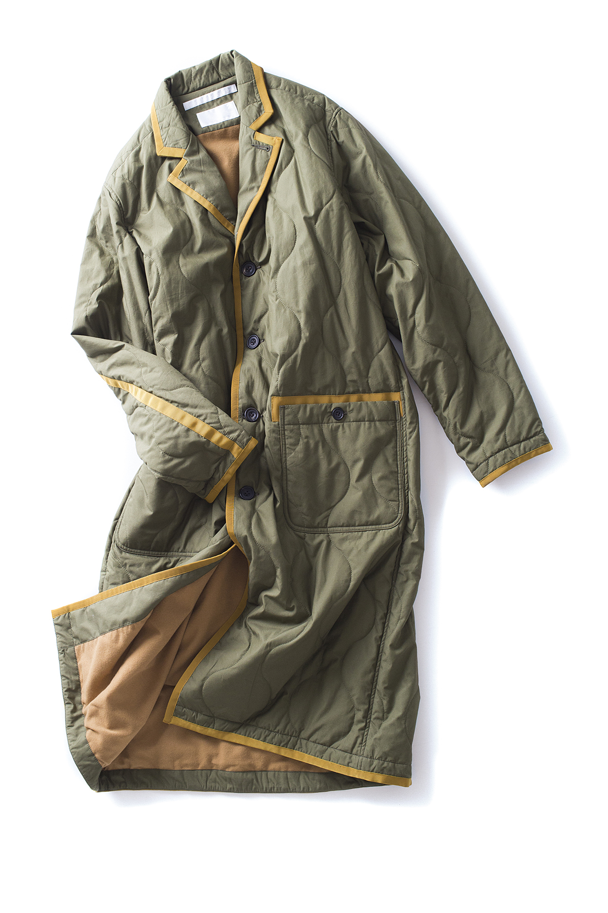 WHITE MOUNTAINEERING : Primaloft Quilted Long Coat (Khaki)