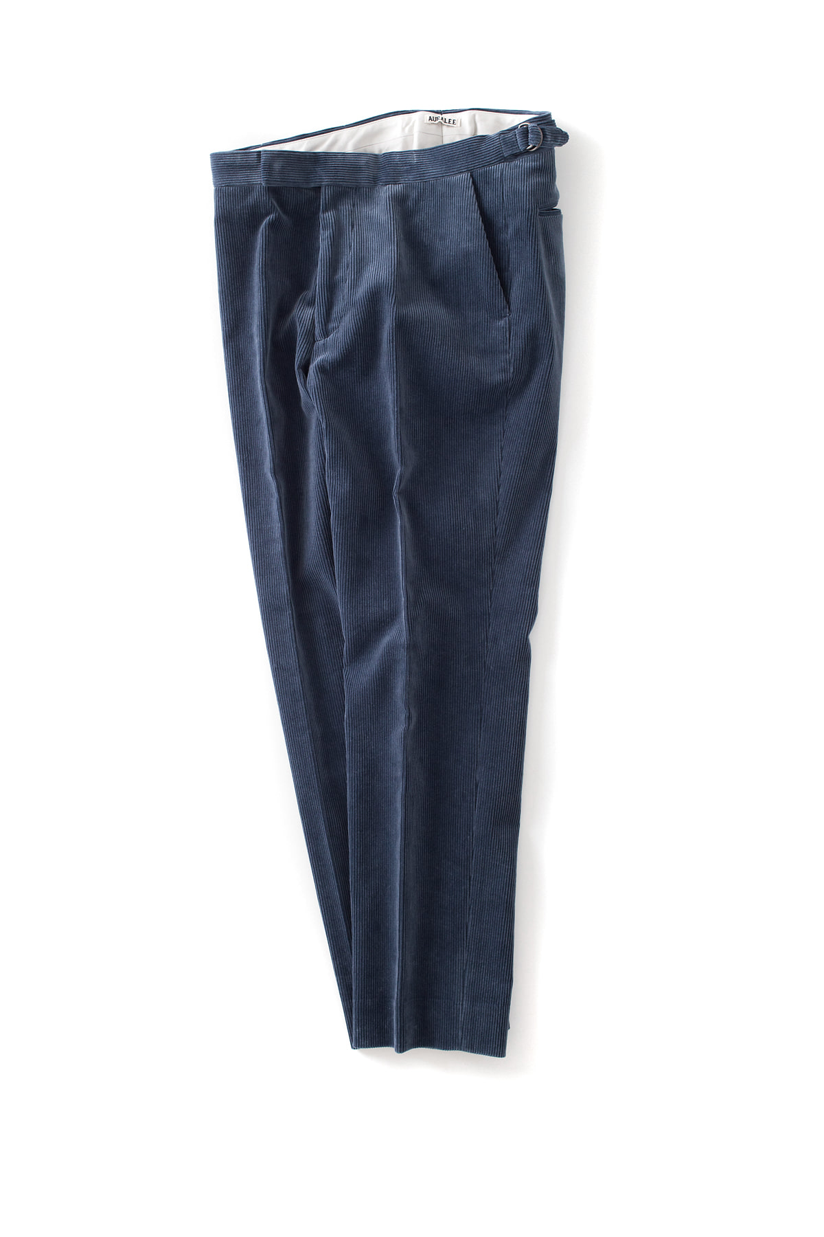 Auralee : Washed Corduroy Tapered Slacks (Dark Blue)