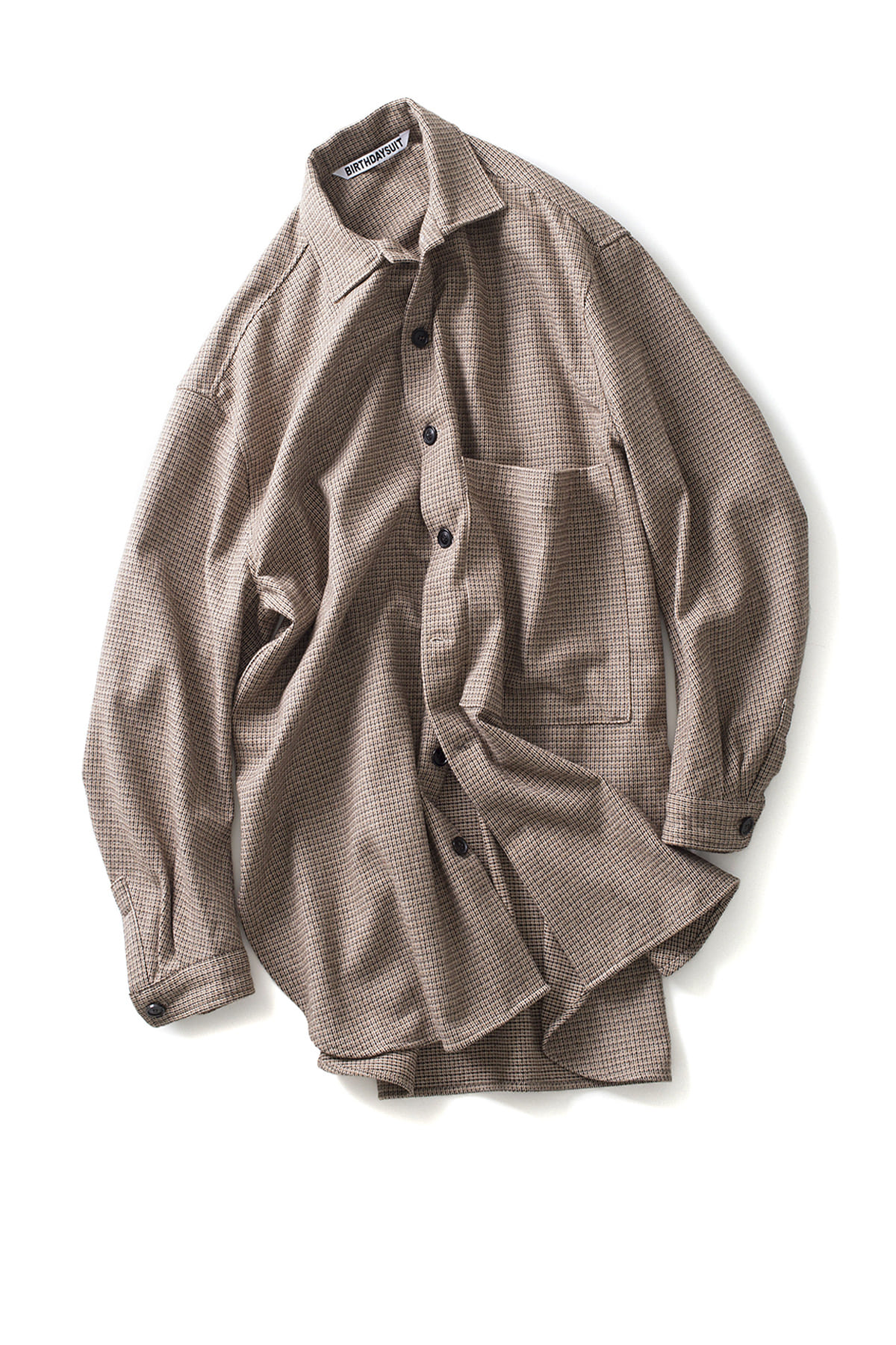 BIRTHDAYSUIT : Oversized Check Shirt Coat (Beige)