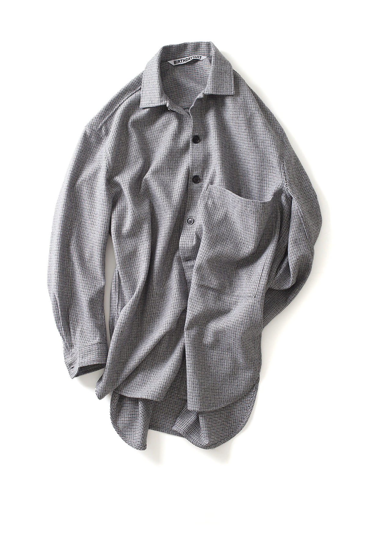 BIRTHDAYSUIT : Oversized Check Shirt Coat (Grey)