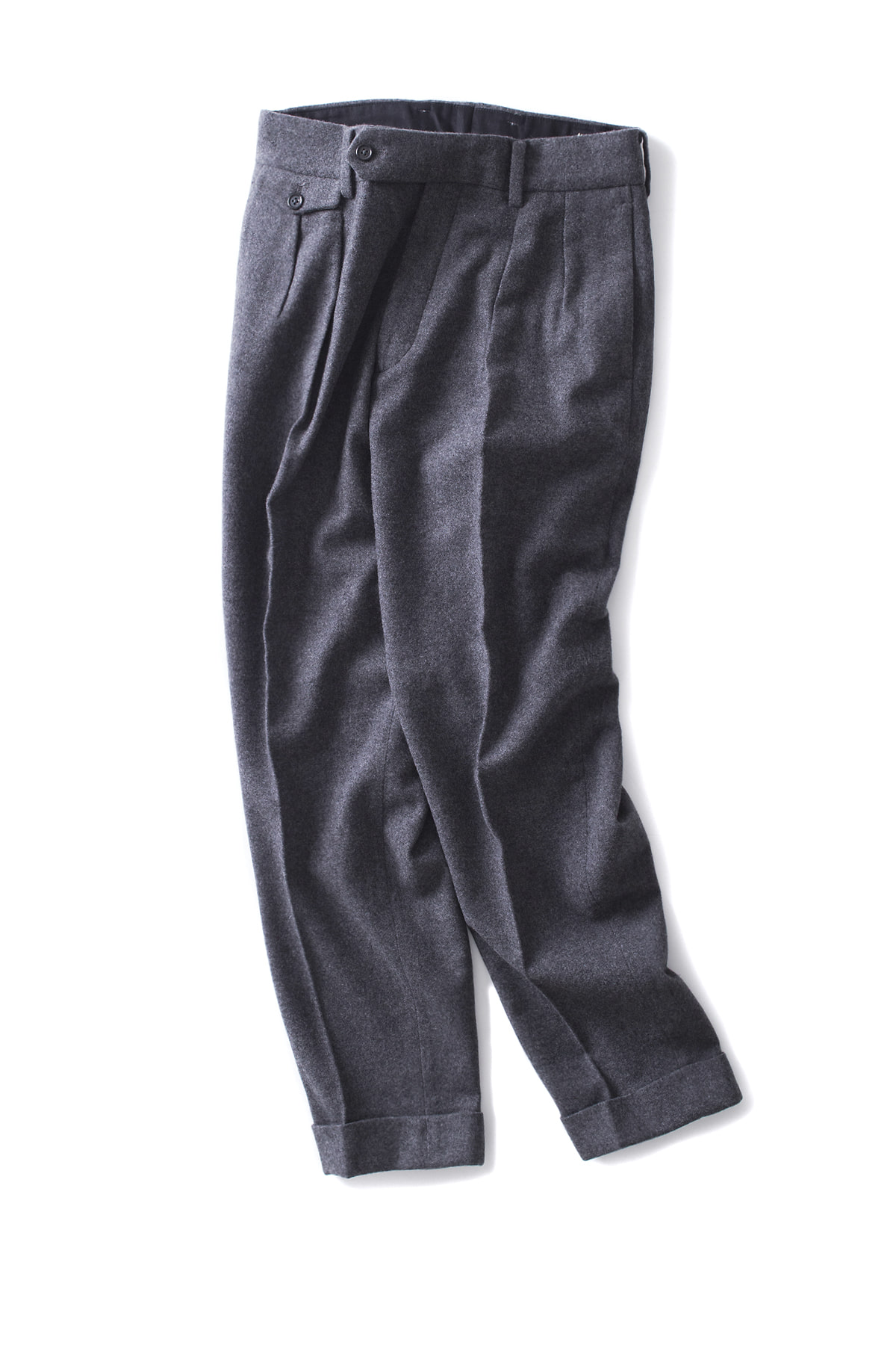 Kaptain Sunshine : Two Pleats Trousers (Charcoal Grey)