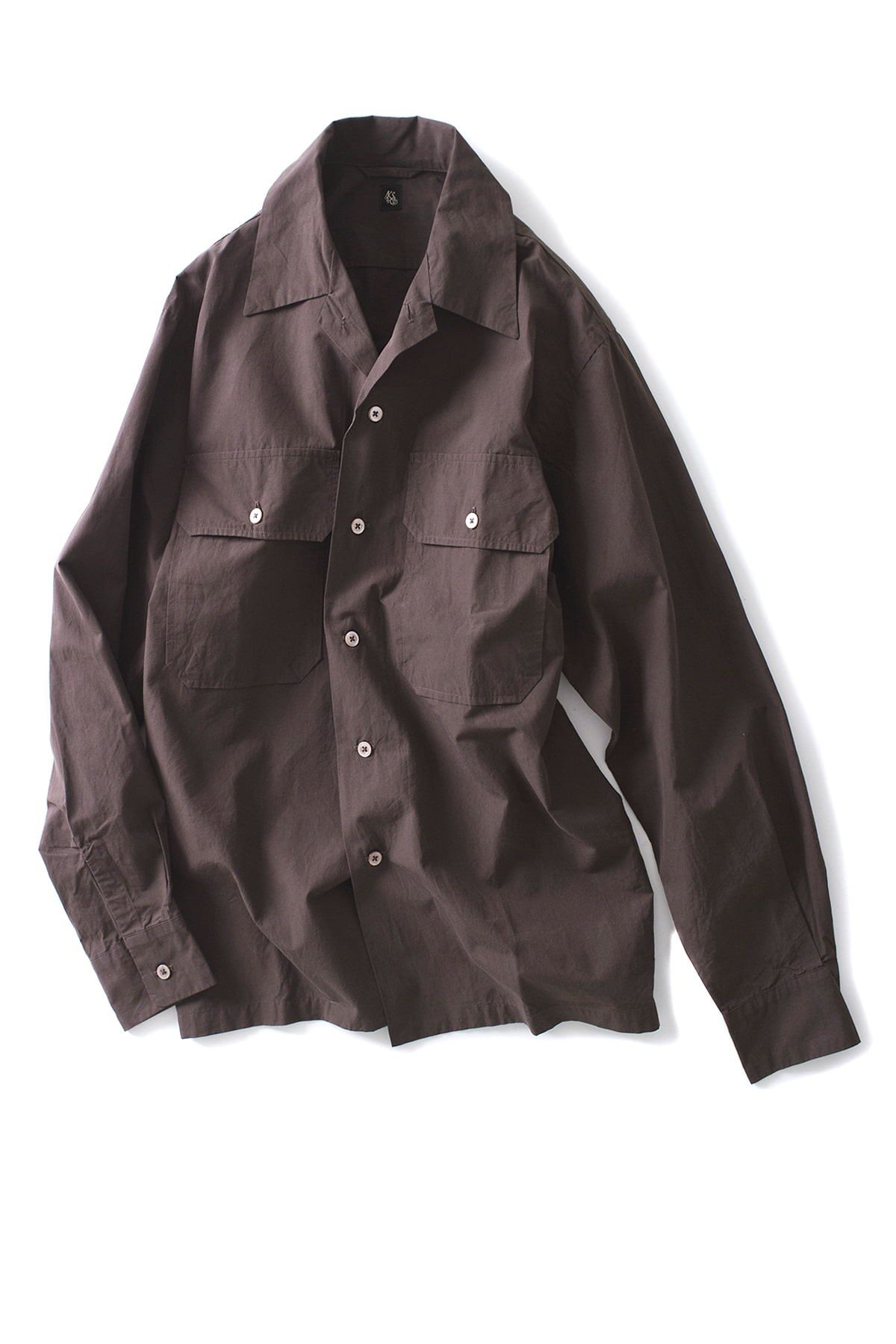 Kaptain Sunshine : Utility Open Collar Shirt (Brown)
