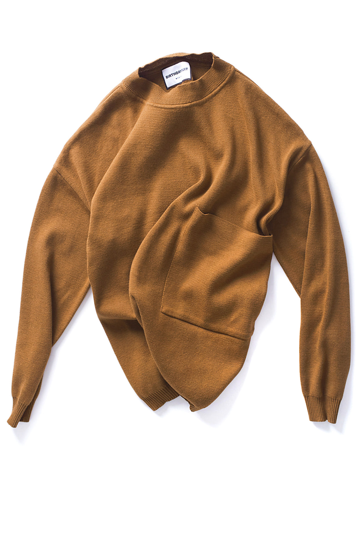 BIRTHDAYSUIT : Big Pocket Knit Pullover (Camel)