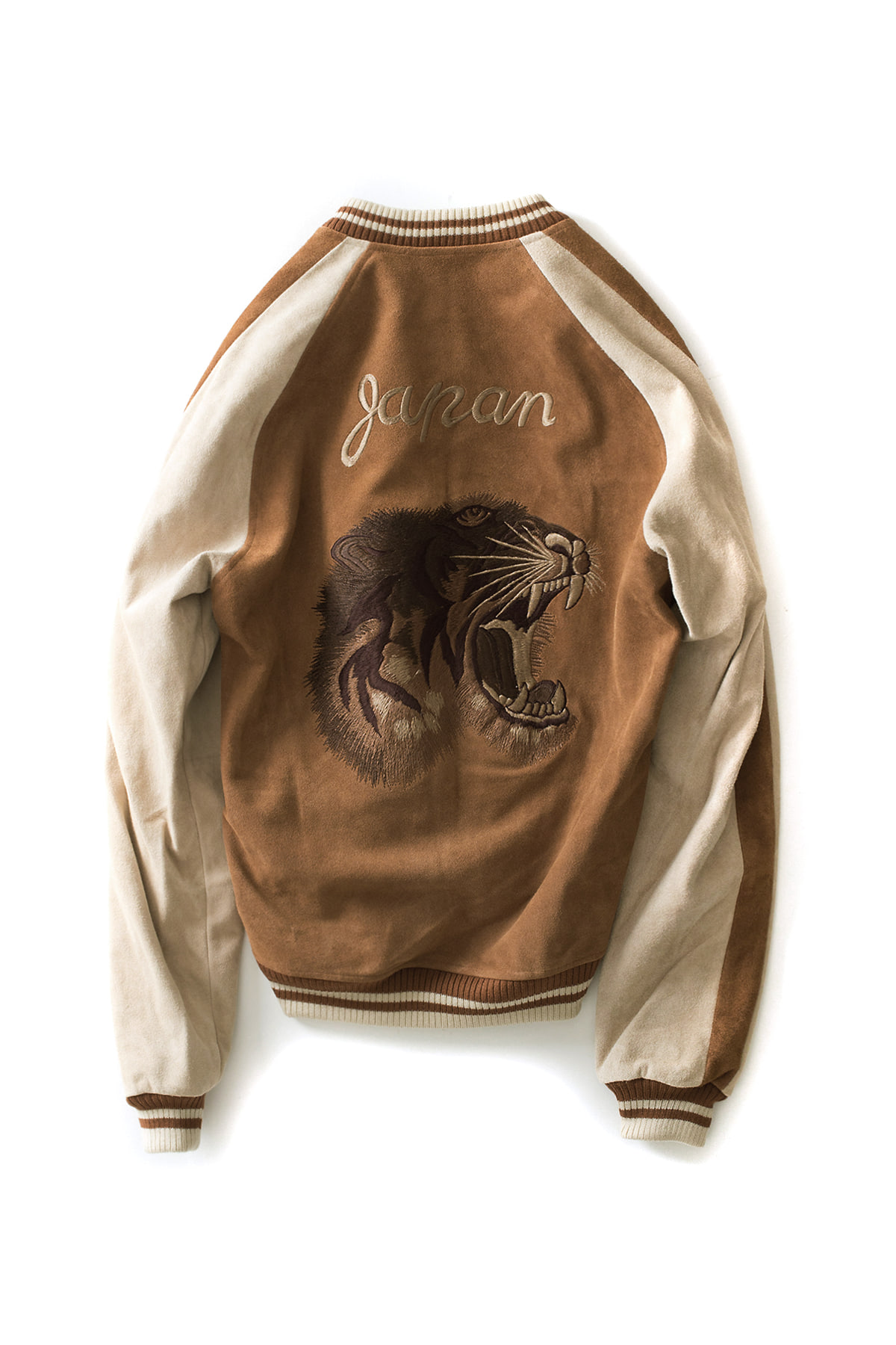 STAMMBAUM : Leather Souvenir Jacket (Brown x Beige)