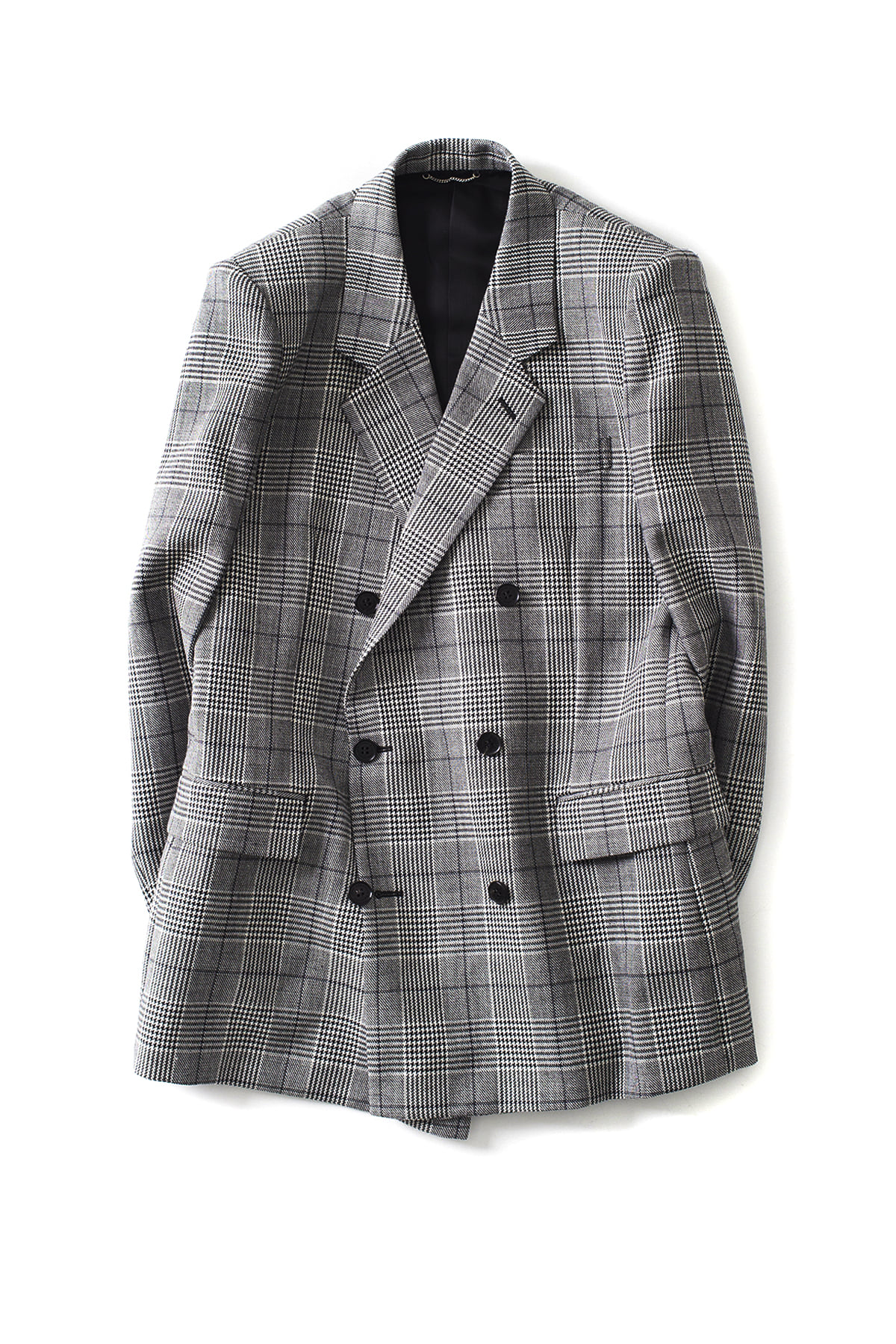 JOHN LAWRENCE SULLIVAN : Glen Check Double Breasted Jacket (Grey)