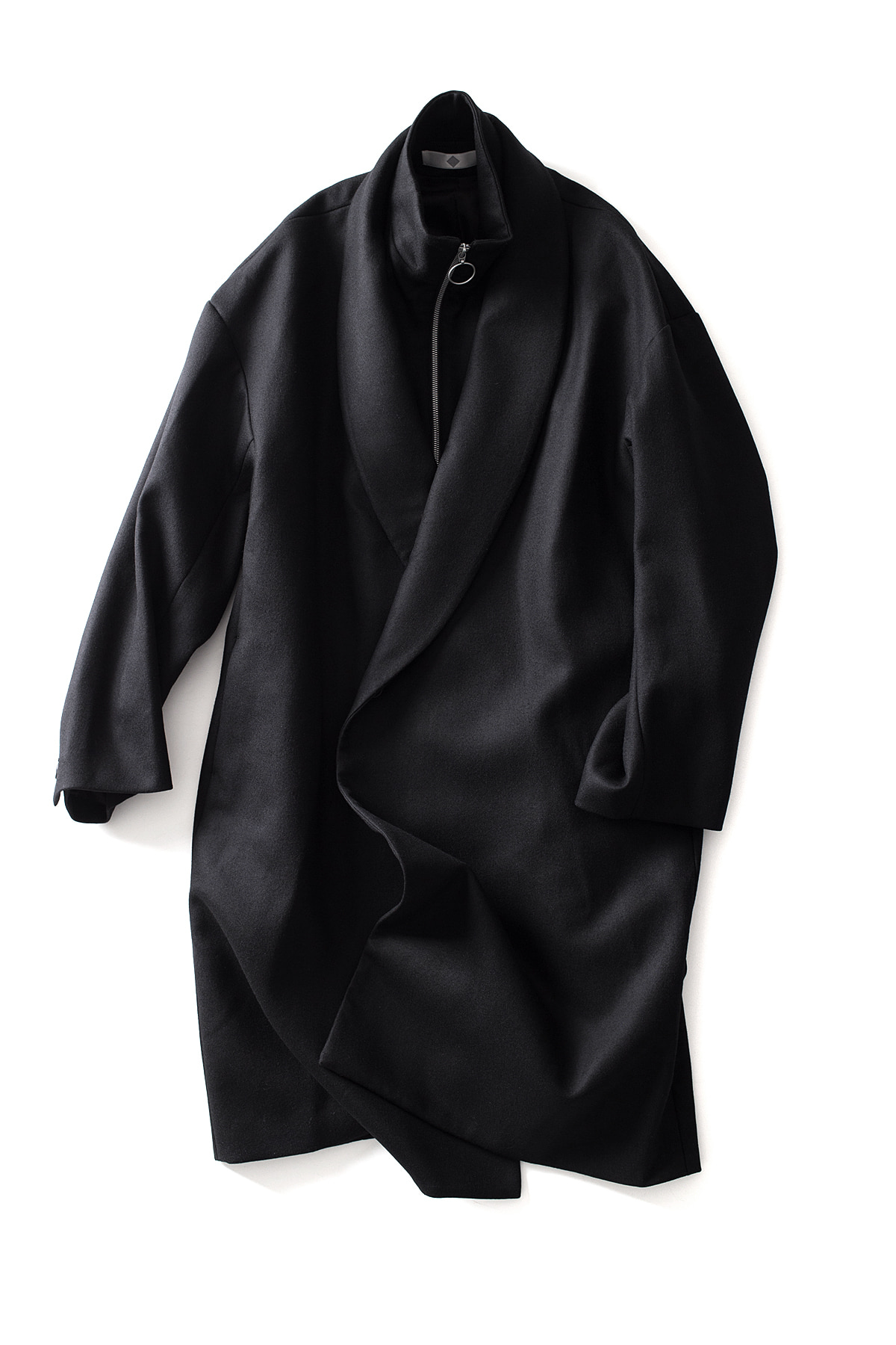 ETHOSENS : Shawl Collar Layered Coat (Black)