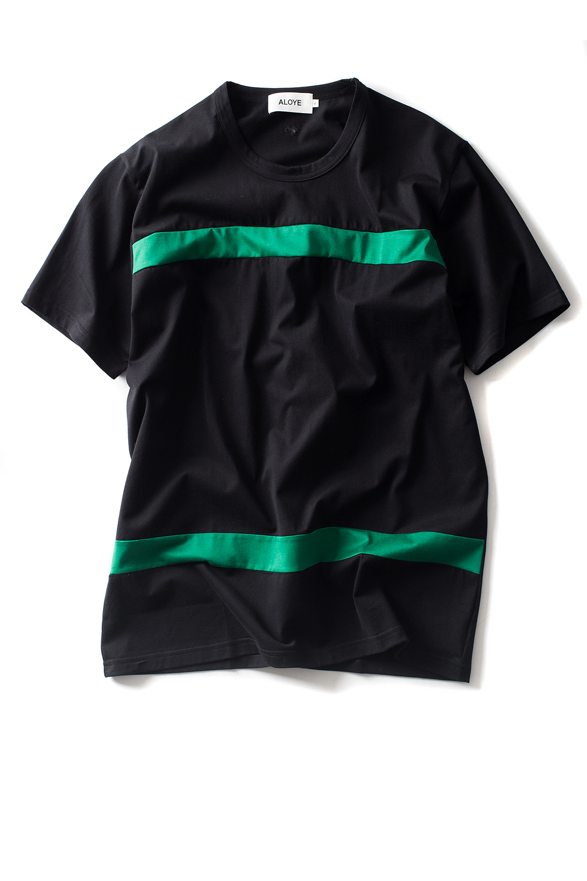 ALOYE : Color Blocks - Short Sleeve T-Shirt (Black / Green)