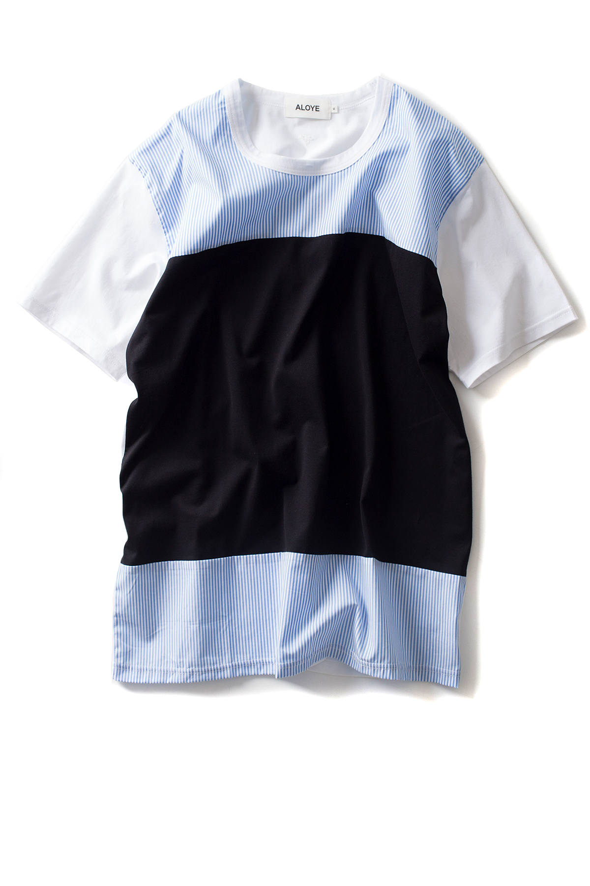 ALOYE : Shirt Fabrics - Short Sleeve T-Shirt (L.Blue / Black)