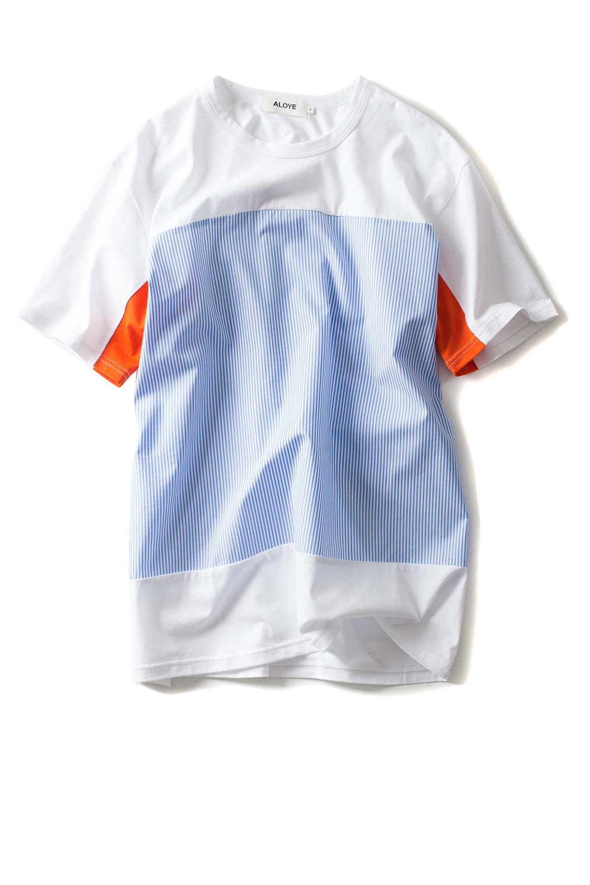 ALOYE : Shirt Fabrics - Short Sleeve T-Shirt (L.Blue / Orange)