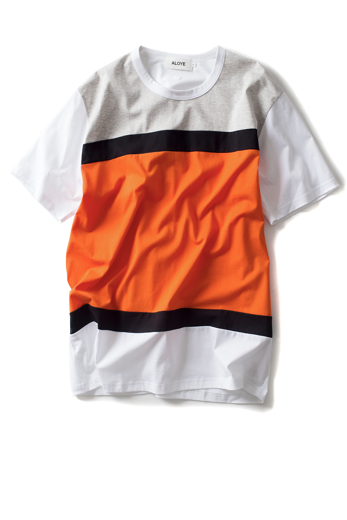 ALOYE : Color Blocks - Short Sleeve T-SHIRT (Grey / Orange)