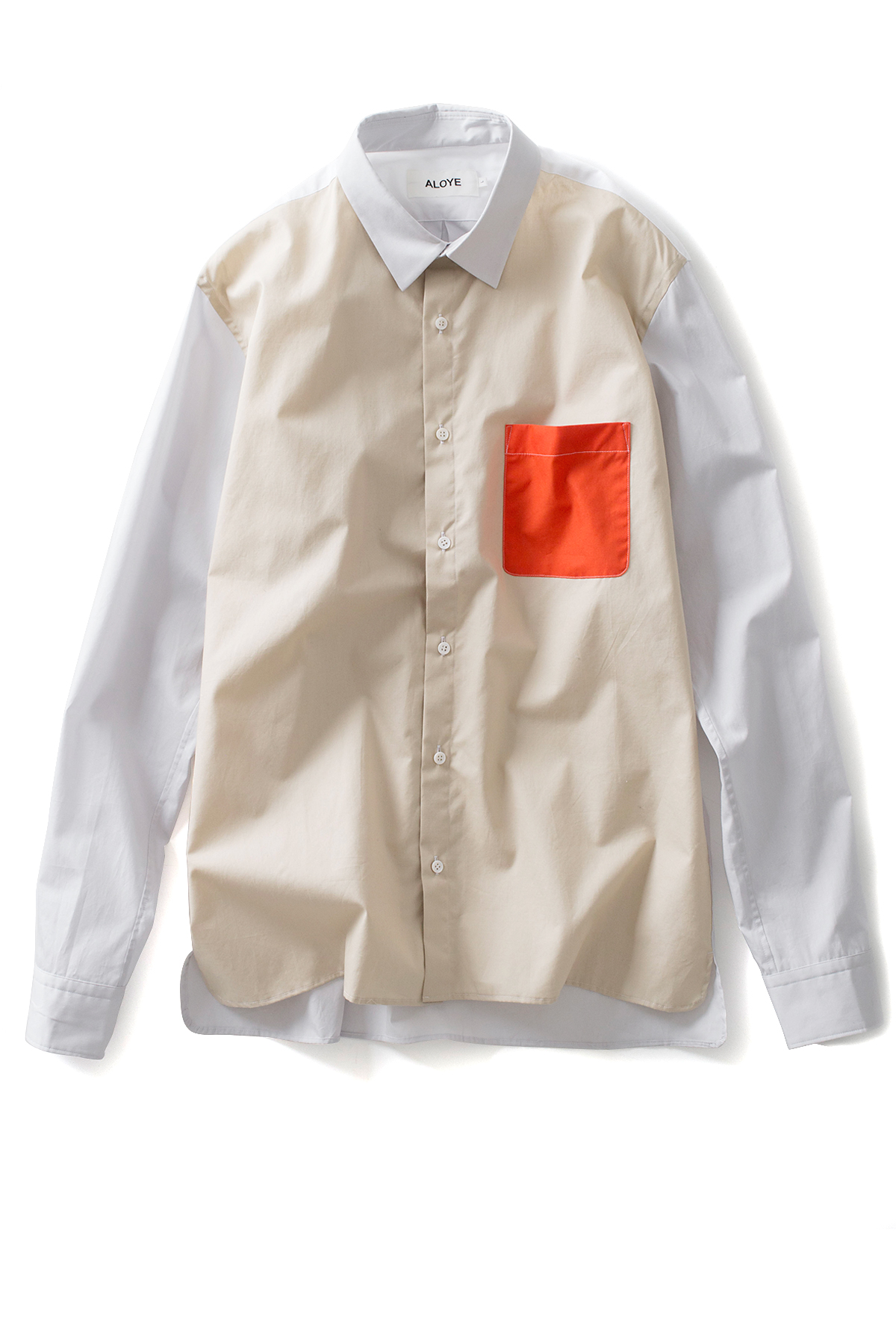 ALOYE : Color Blocks - Long Sleeve Shirts (Off White / Orange)
