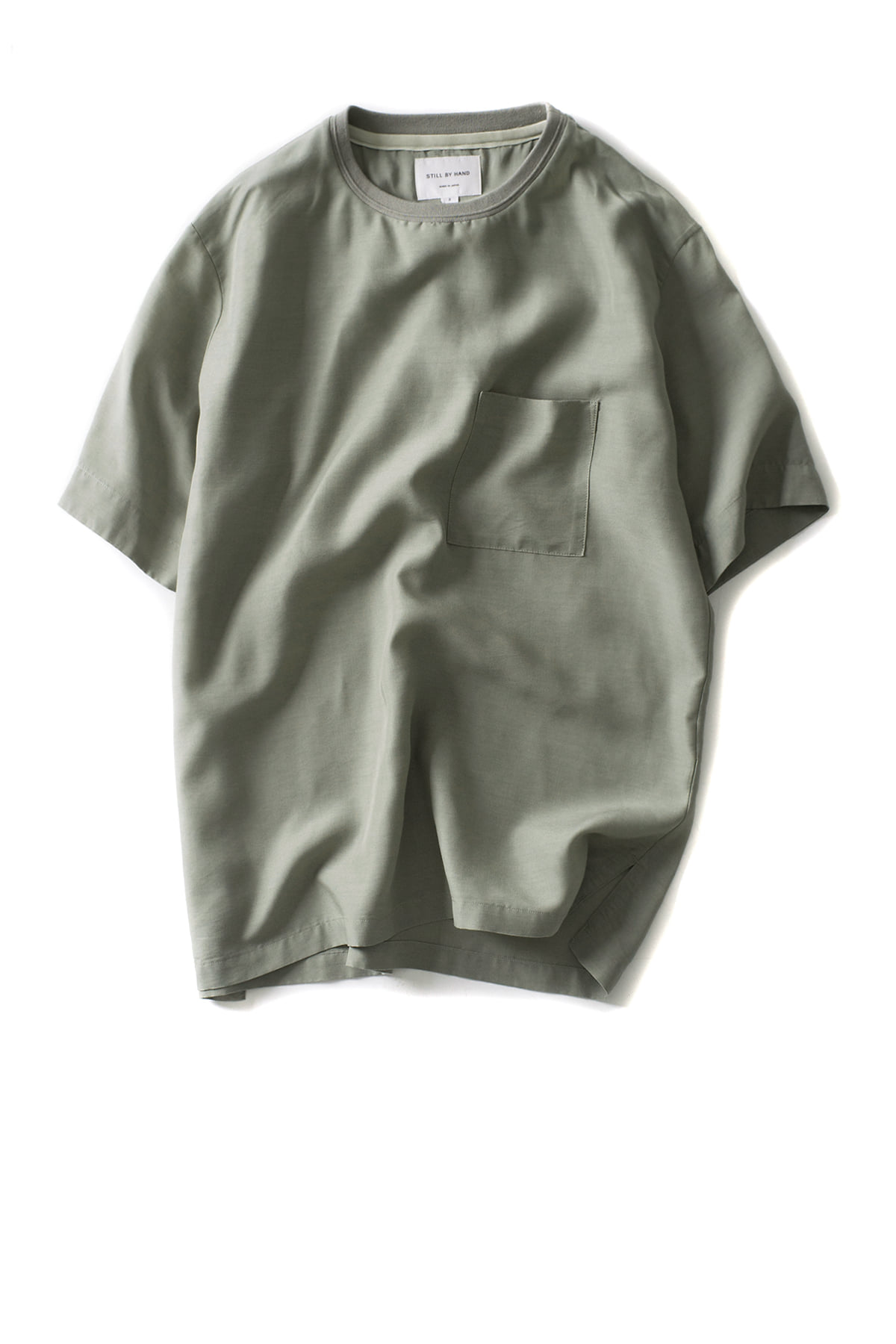Still by Hand : Over Fit Crew Shirt (Green)