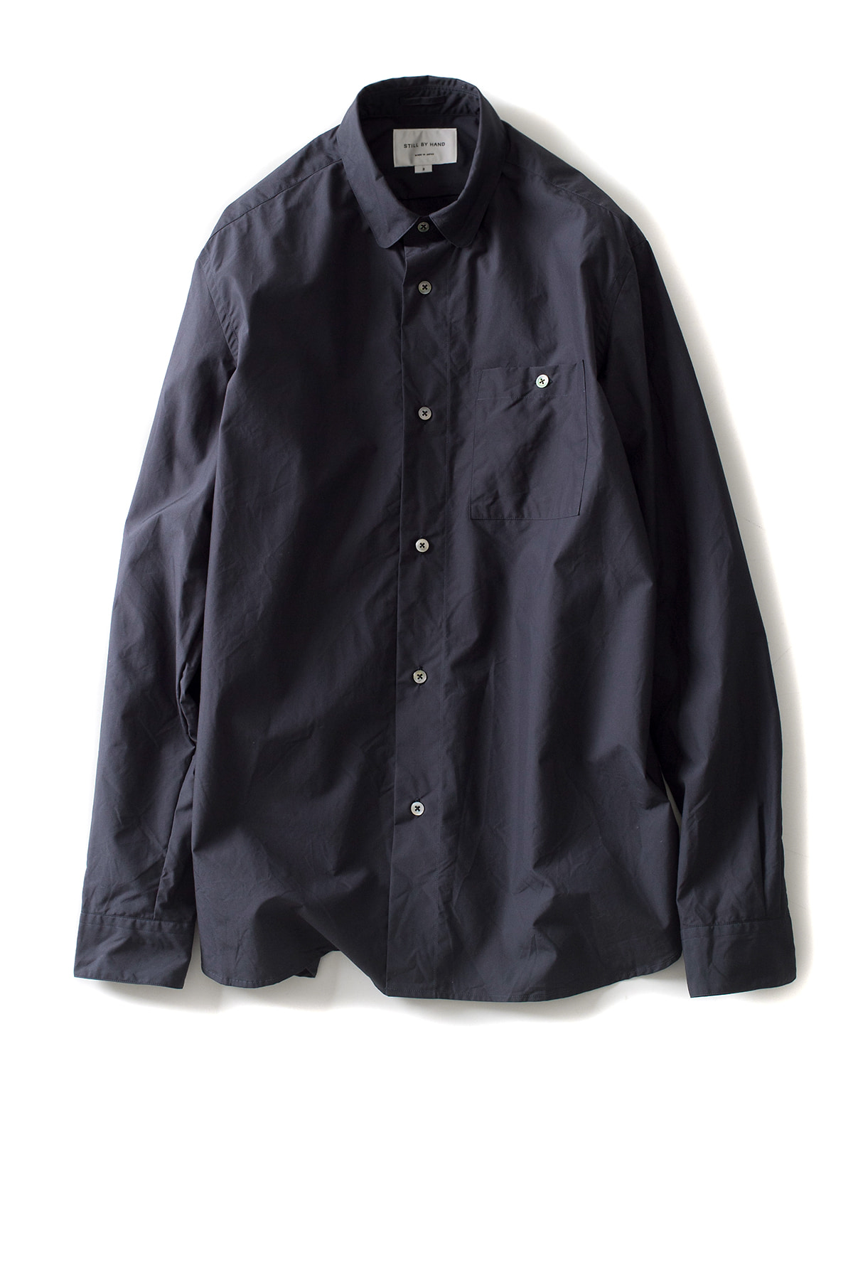 Still by Hand : Round Collar Shirt (Navy)