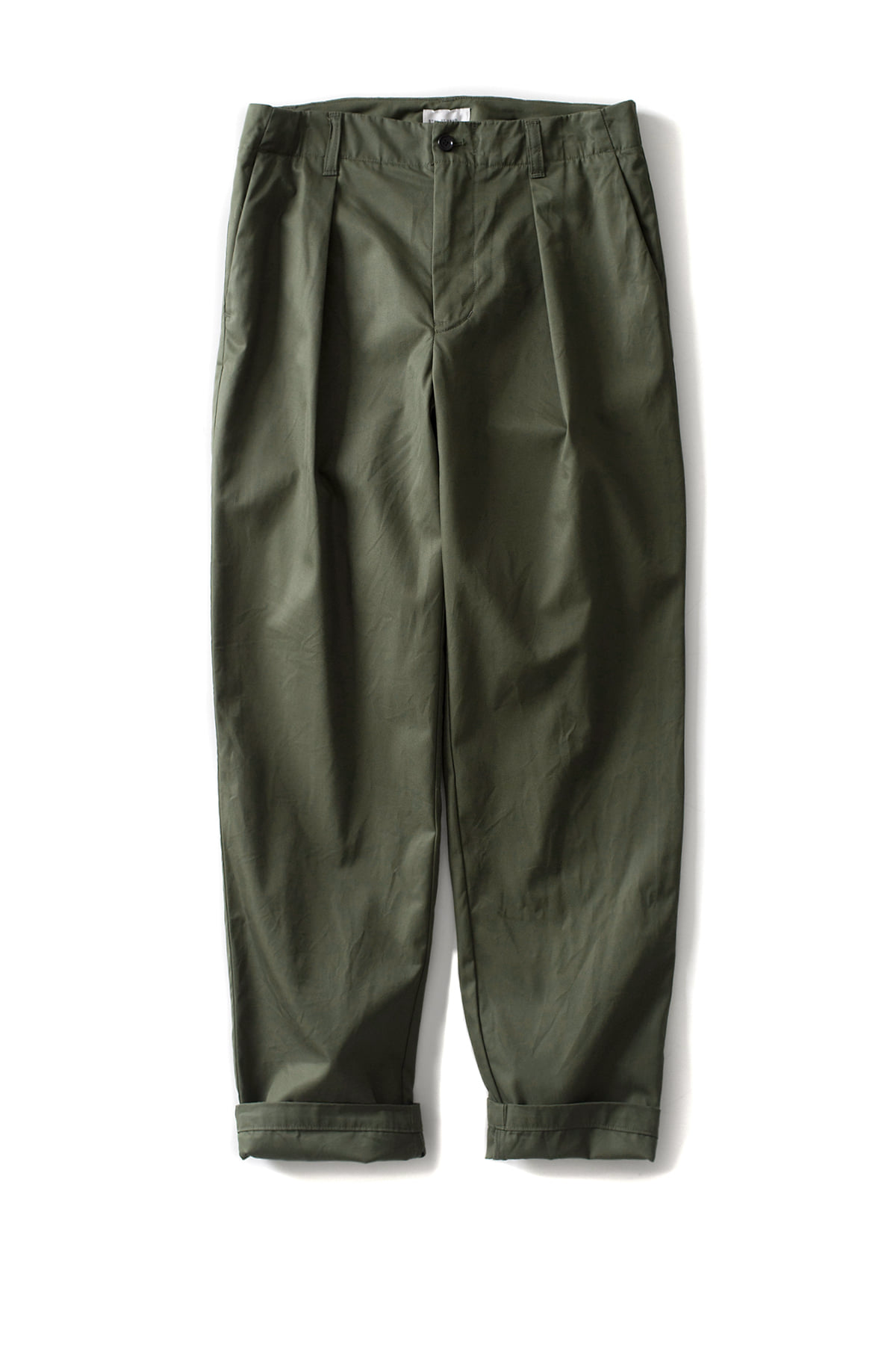 Still by Hand : Deep Tuck Twill Slacks (Olive)