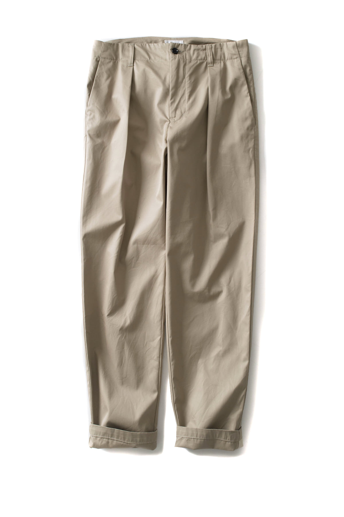 Still by Hand : Deep Tuck Twill Slacks (Beige)