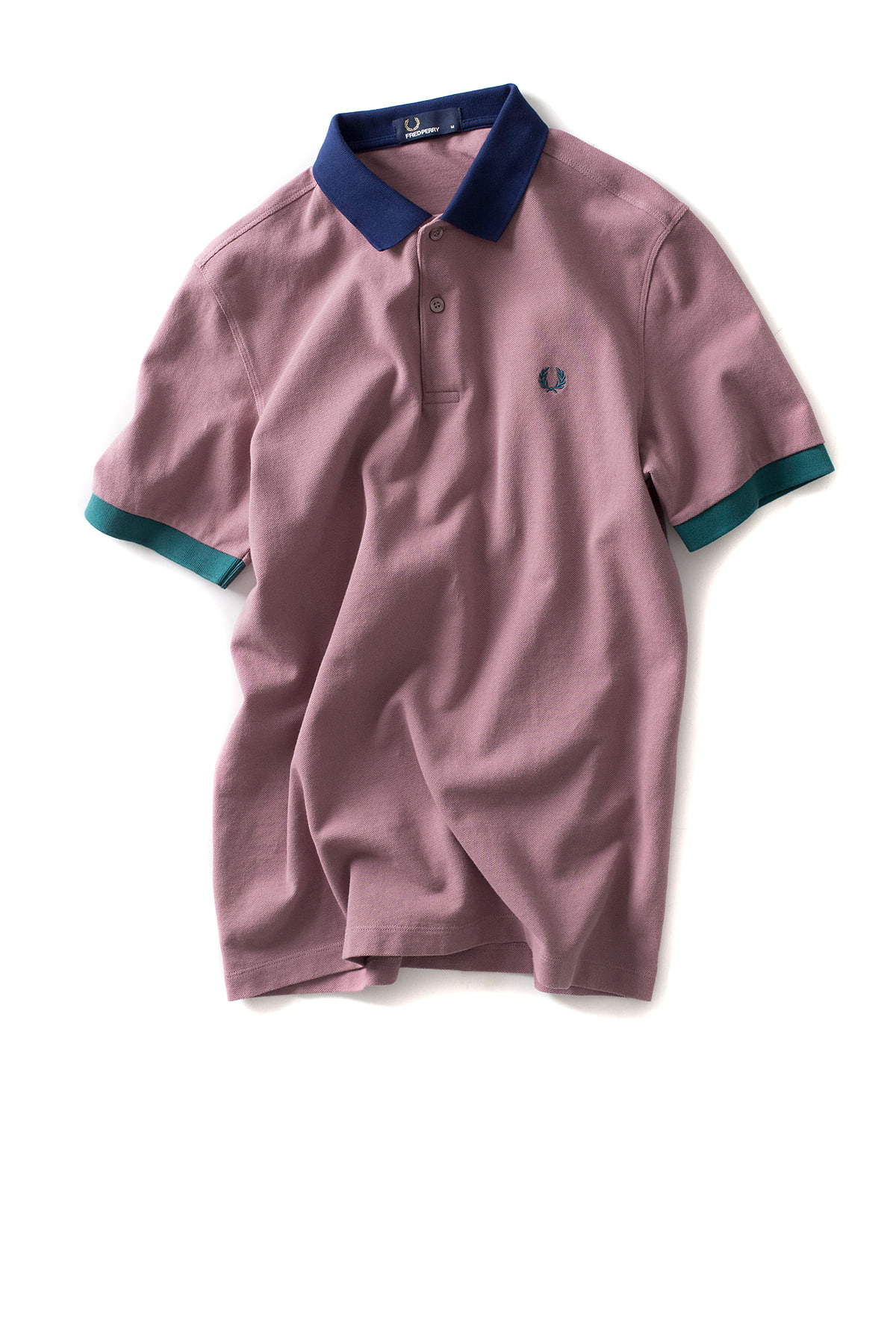FRED PERRY : Colour Block Pique Shirt (Rose Grey)