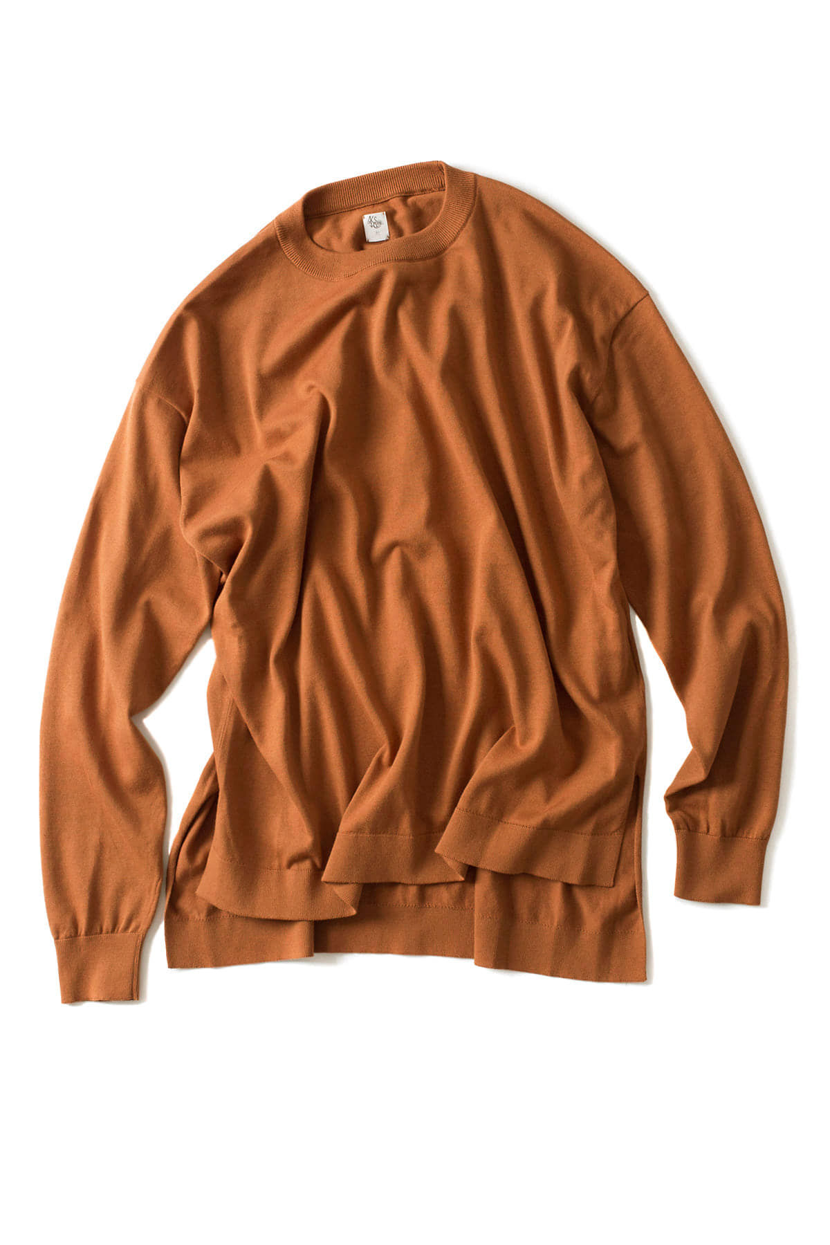 Kaptain Sunshine : Crewneck Long Sleeved Pollover Knit (Orange)