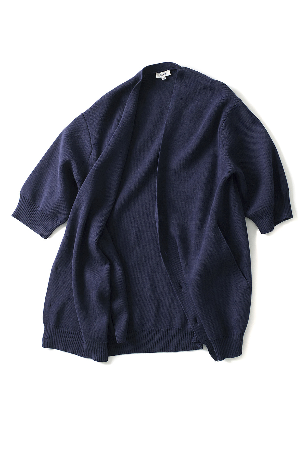 Scye : Cotton Half Sleeve Cardigan (Navy)