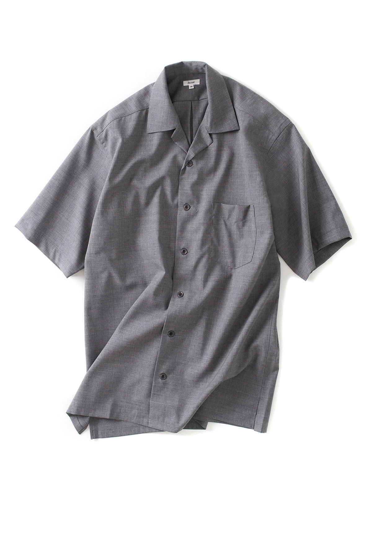 Scye : Wool Camp Collar Shirt (Grey)