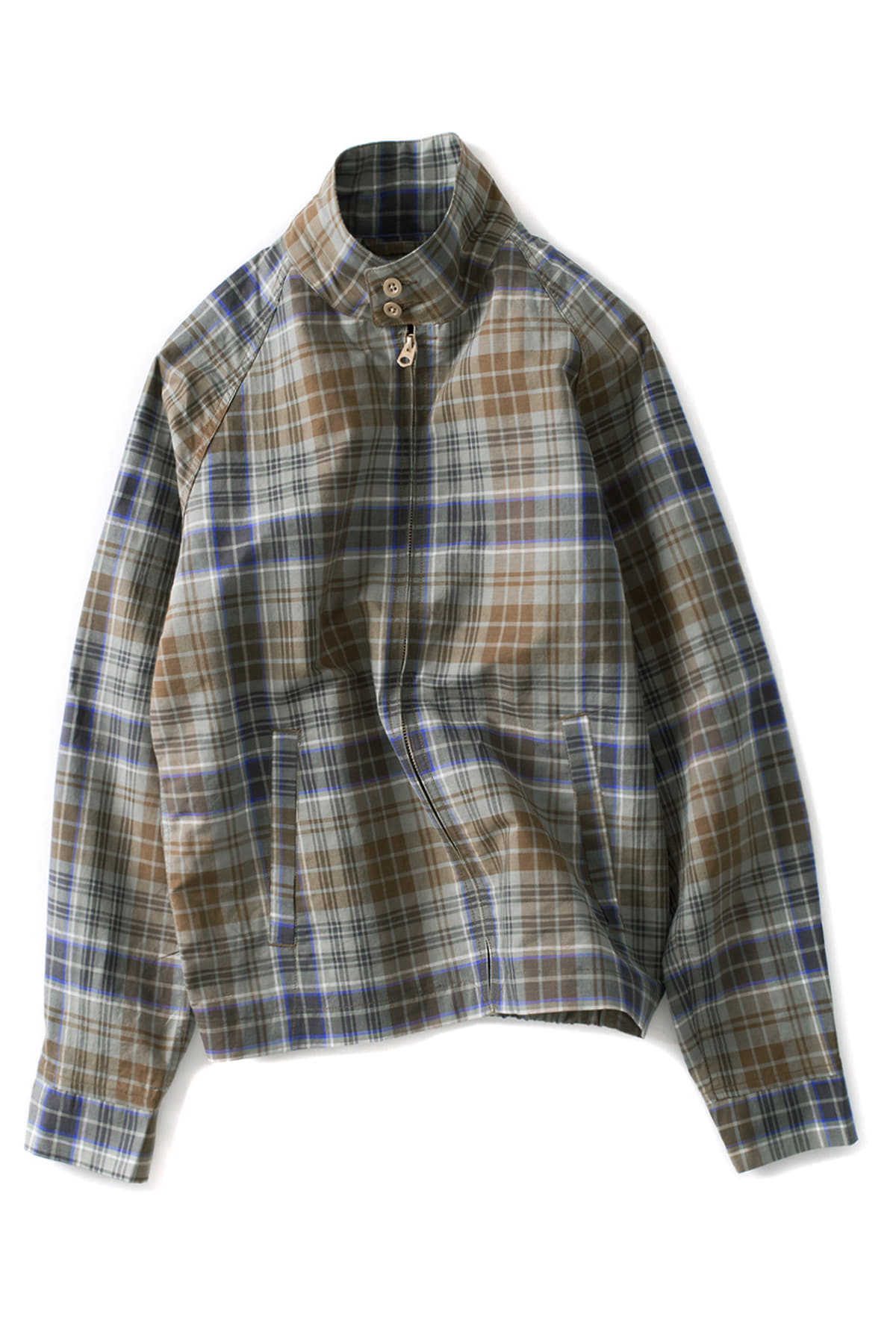 Scye : Cotton And Linen Plaid Harrington Jacket (Blue)